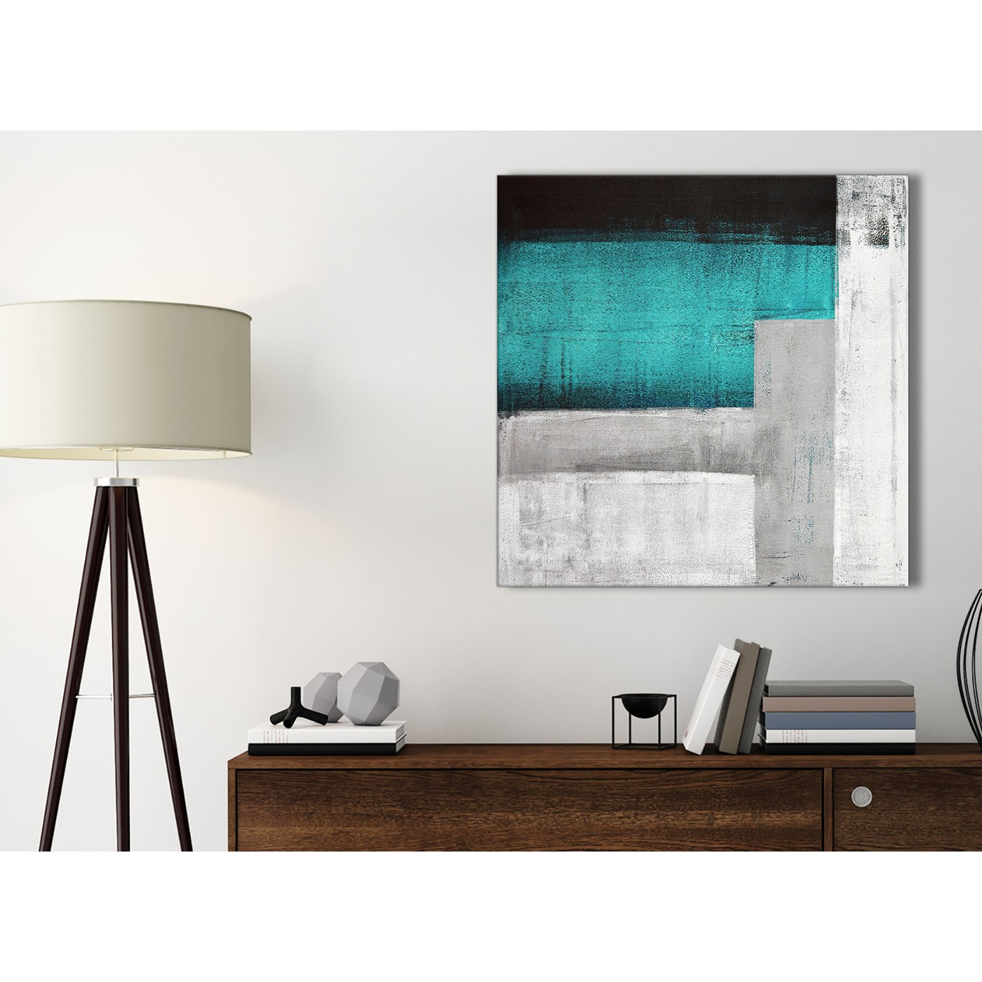 Teal Turquoise Grey Painting Bathroom Canvas Wall Art Accessories