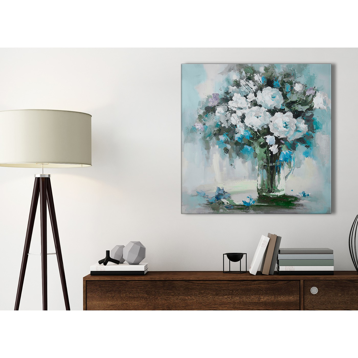 Teal White Flowers Painting Bathroom Canvas Wall Art Accessories ...