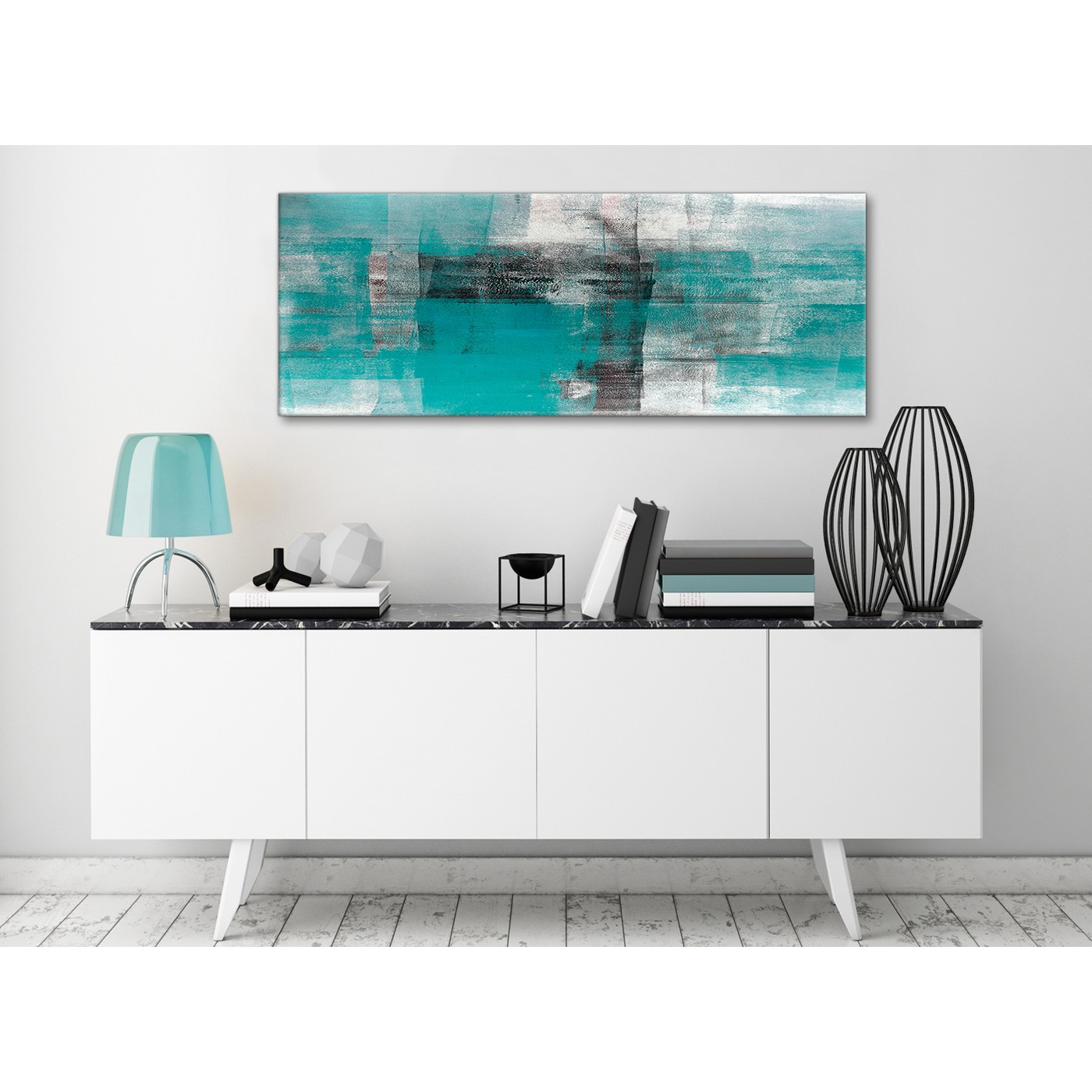 Teal Black White Painting Living Room Canvas Wall Art Accessories ...