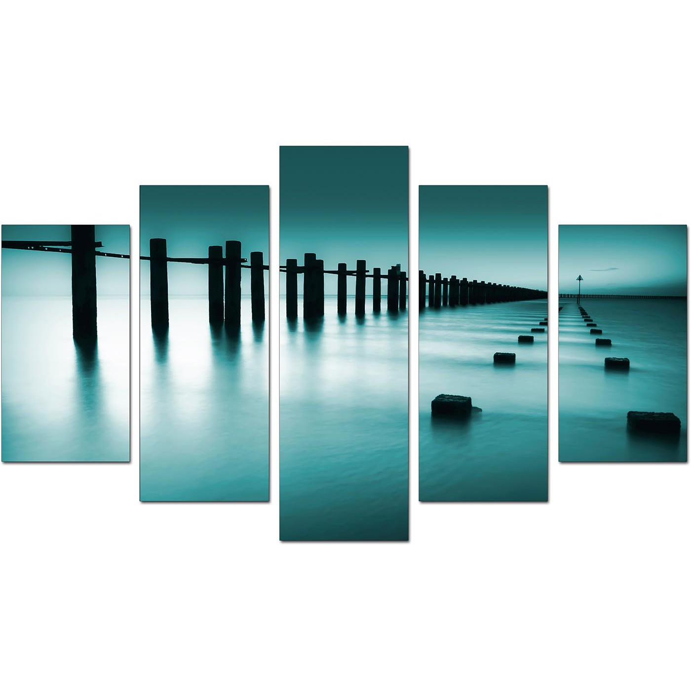 Large Wall Murals Uk Extra Large Sea Canvas Wall Art Five Panel In Teal
