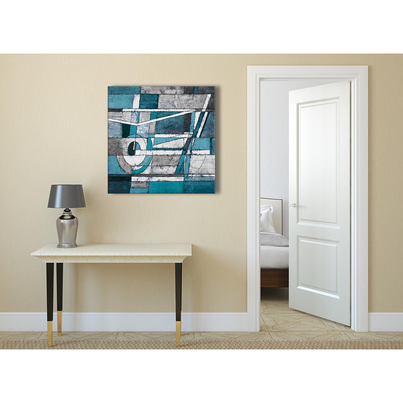 Teal Dining Room: Teal Grey Painting Abstract Dining Room Canvas Pictures