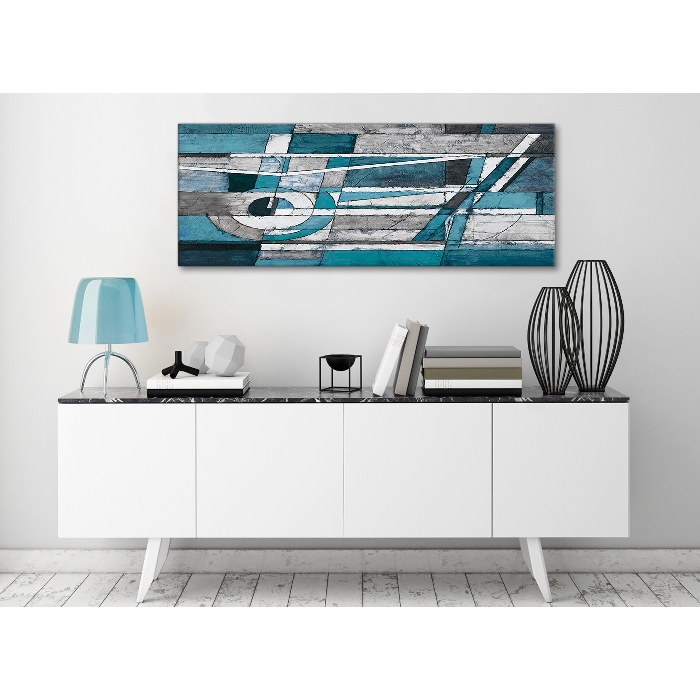 Teal Grey Painting Living Room Canvas Wall Art Accessories ...