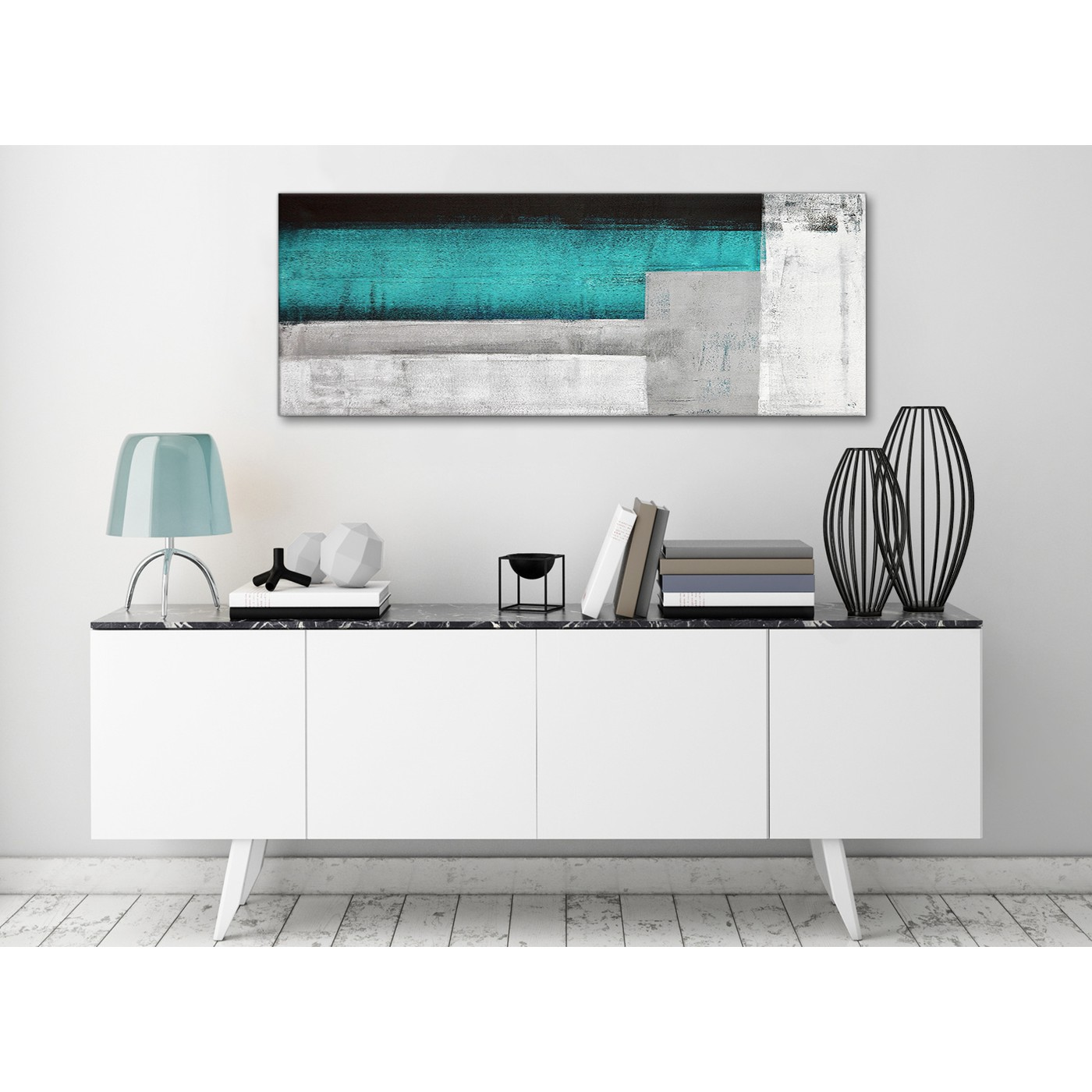 Teal Turquoise Grey Painting Living Room Canvas Wall Art Accessories ...