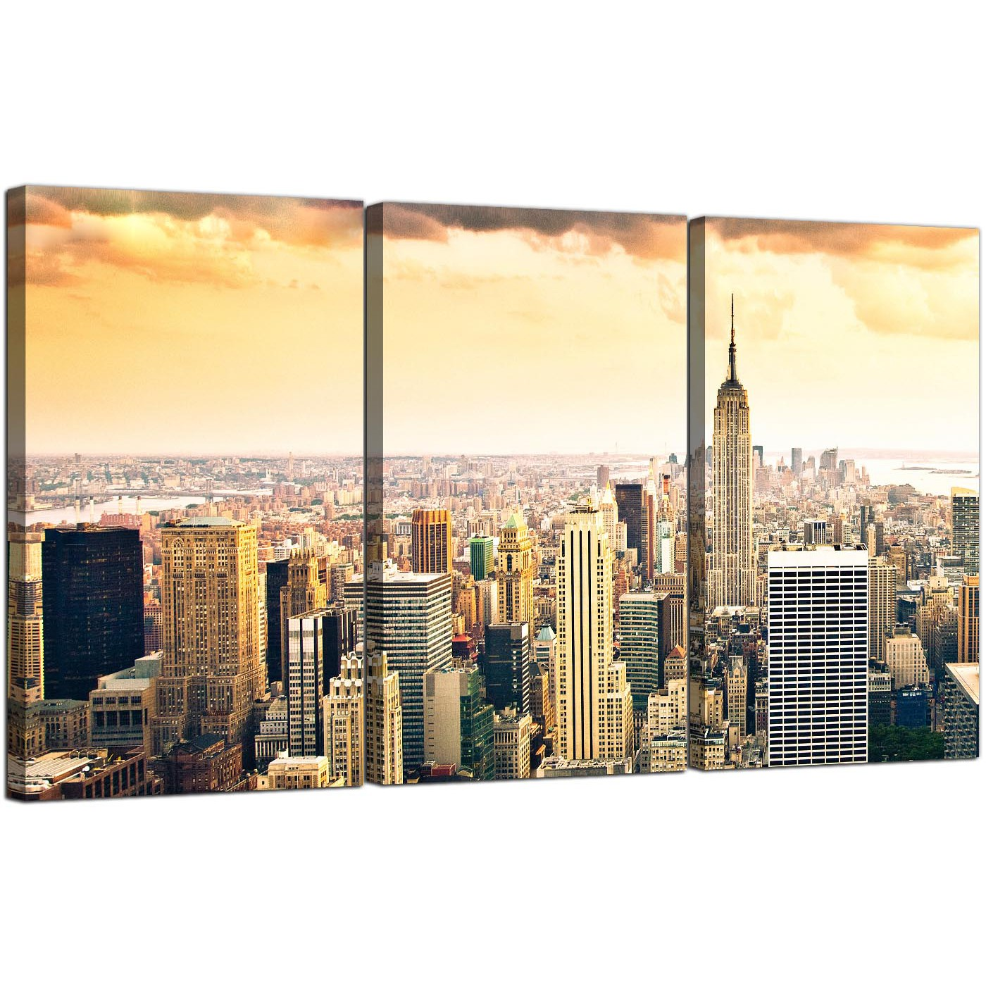 Colorful New York Skyline Canvas Wall Art Collection - Wall Art ...