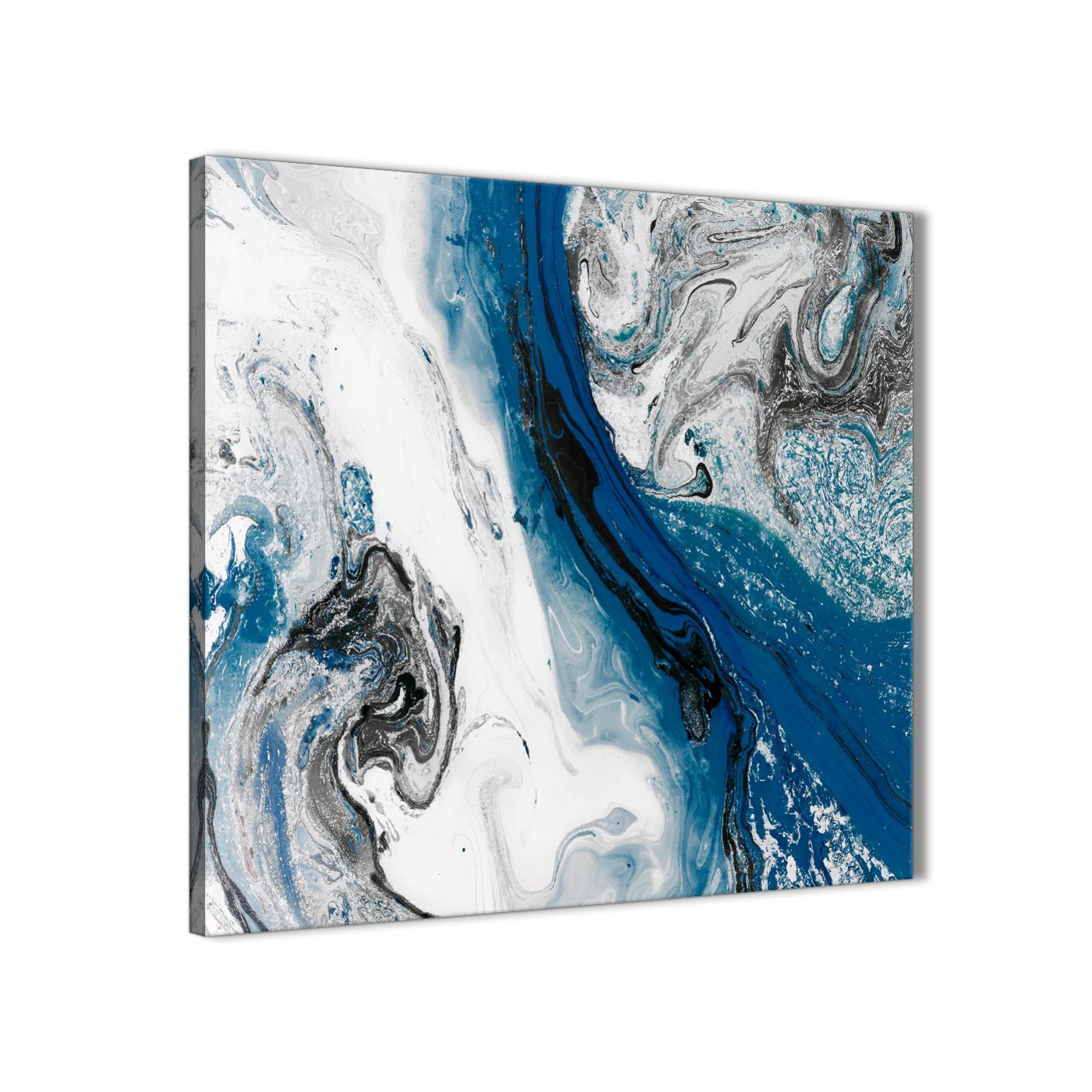 Blue and Grey Swirl Living Room Canvas Wall Art ...