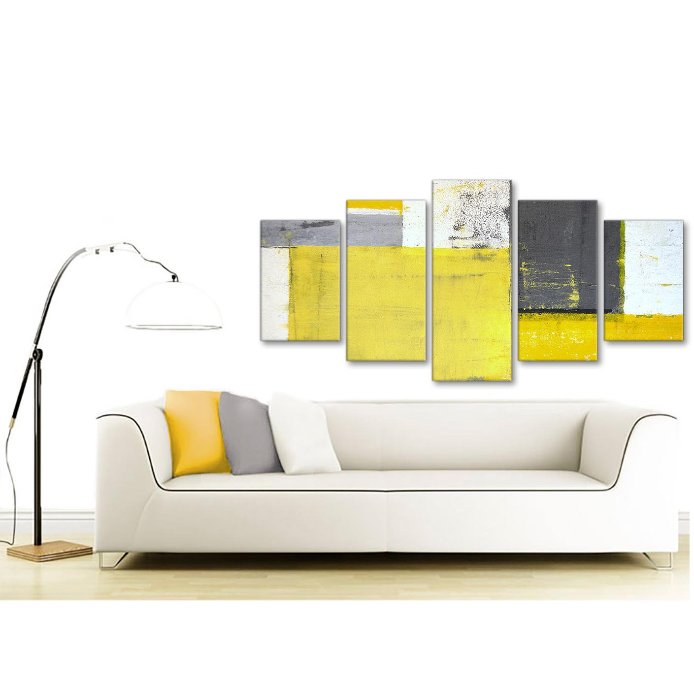 Extra Large Yellow Grey Abstract Painting Canvas Wall Art Print ...