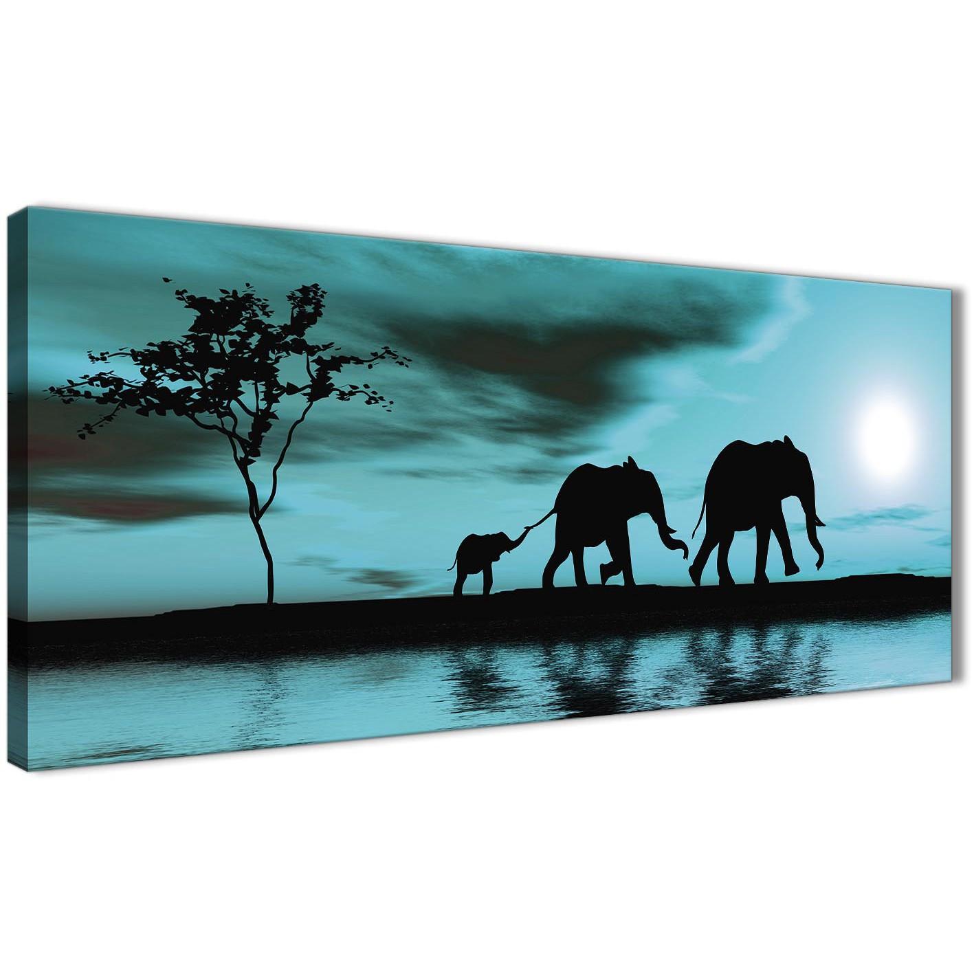 Teal African Sunset Elephants Canvas Wall Art Print