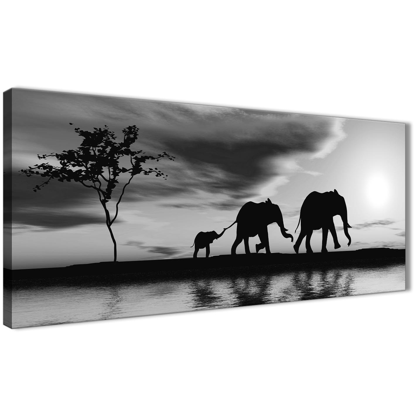 Oversized black white african sunset elephants canvas wall art print modern 120cm wide for your kitchen display gallery item 1