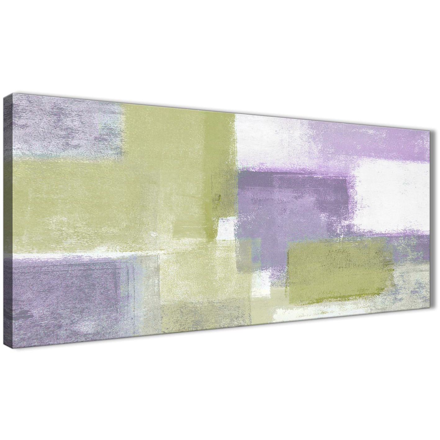 Lime Green Purple Abstract Painting Canvas Wall Art Print - Modern ...