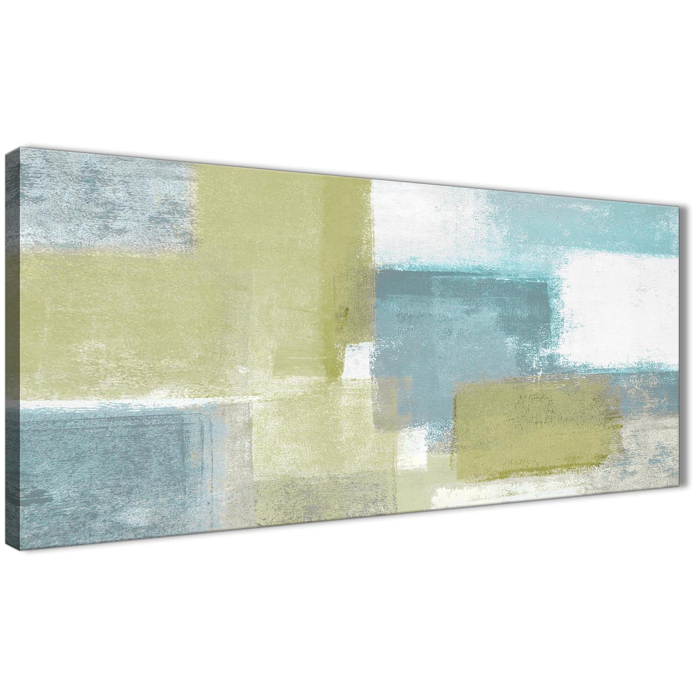 Lime Green Teal Abstract Painting Canvas Wall Art Print - Modern ...
