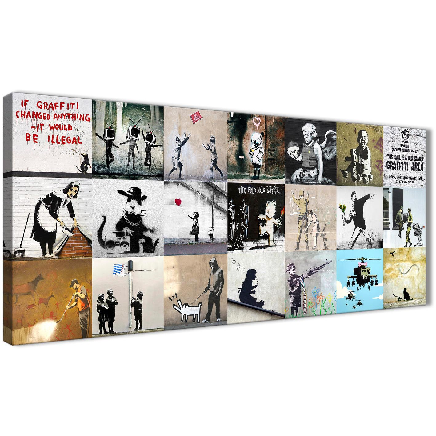 Oversized banksy graffiti collage canvas wall art modern 120cm wide 1356 for your boys bedroom display gallery item 1