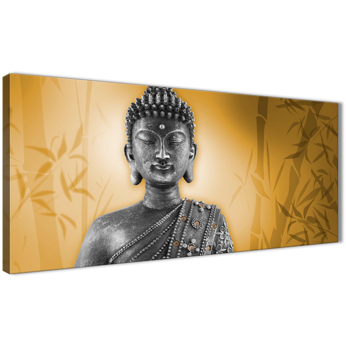 Orange and Grey Silver Canvas Art Prints of Buddha - Modern 120cm ...