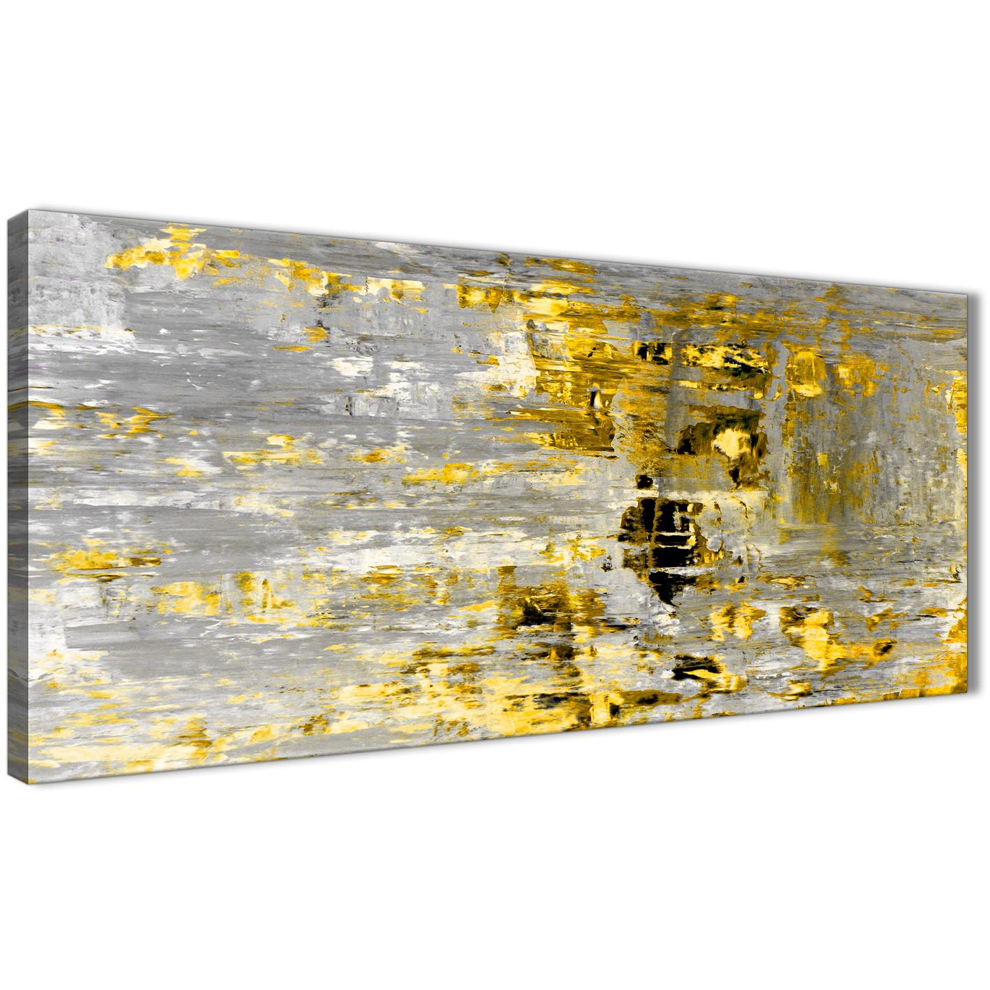 Yellow Abstract Painting Wall Art Print Canvas - Modern 120cm Wide ...