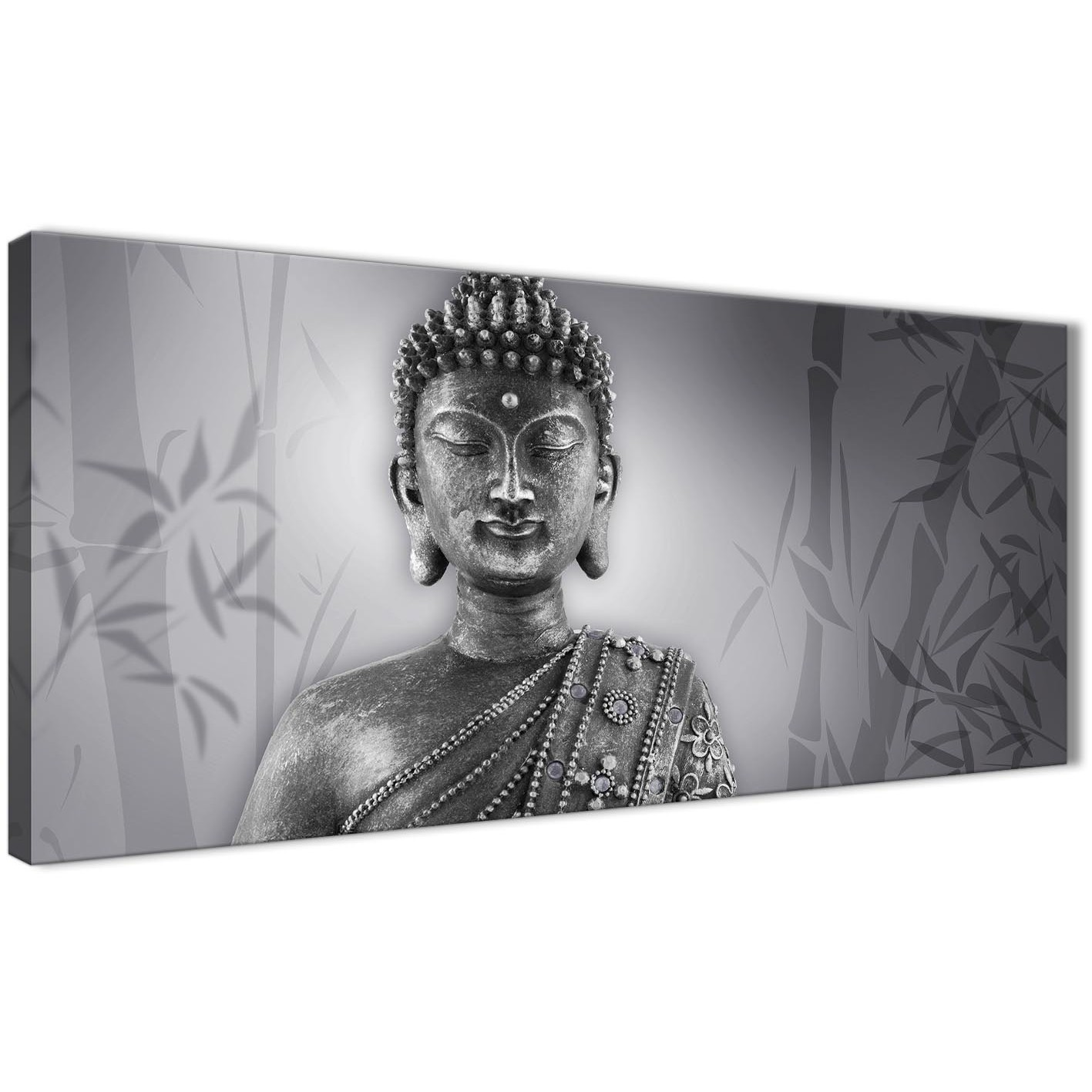 Panoramic black white buddha bedroom canvas wall art accessories 1373 120cm print display gallery item 1
