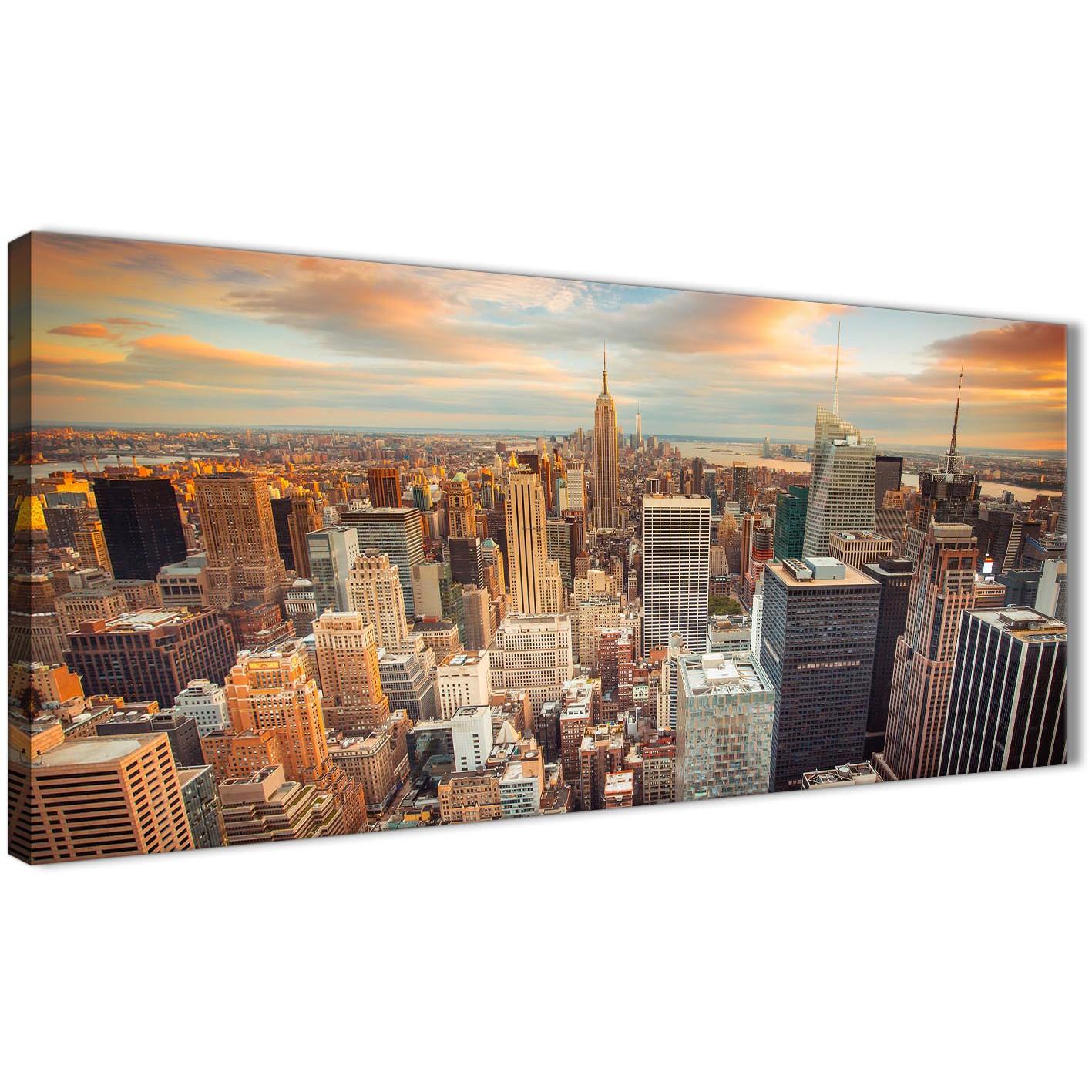 New York Skyline Sunset Manhattan