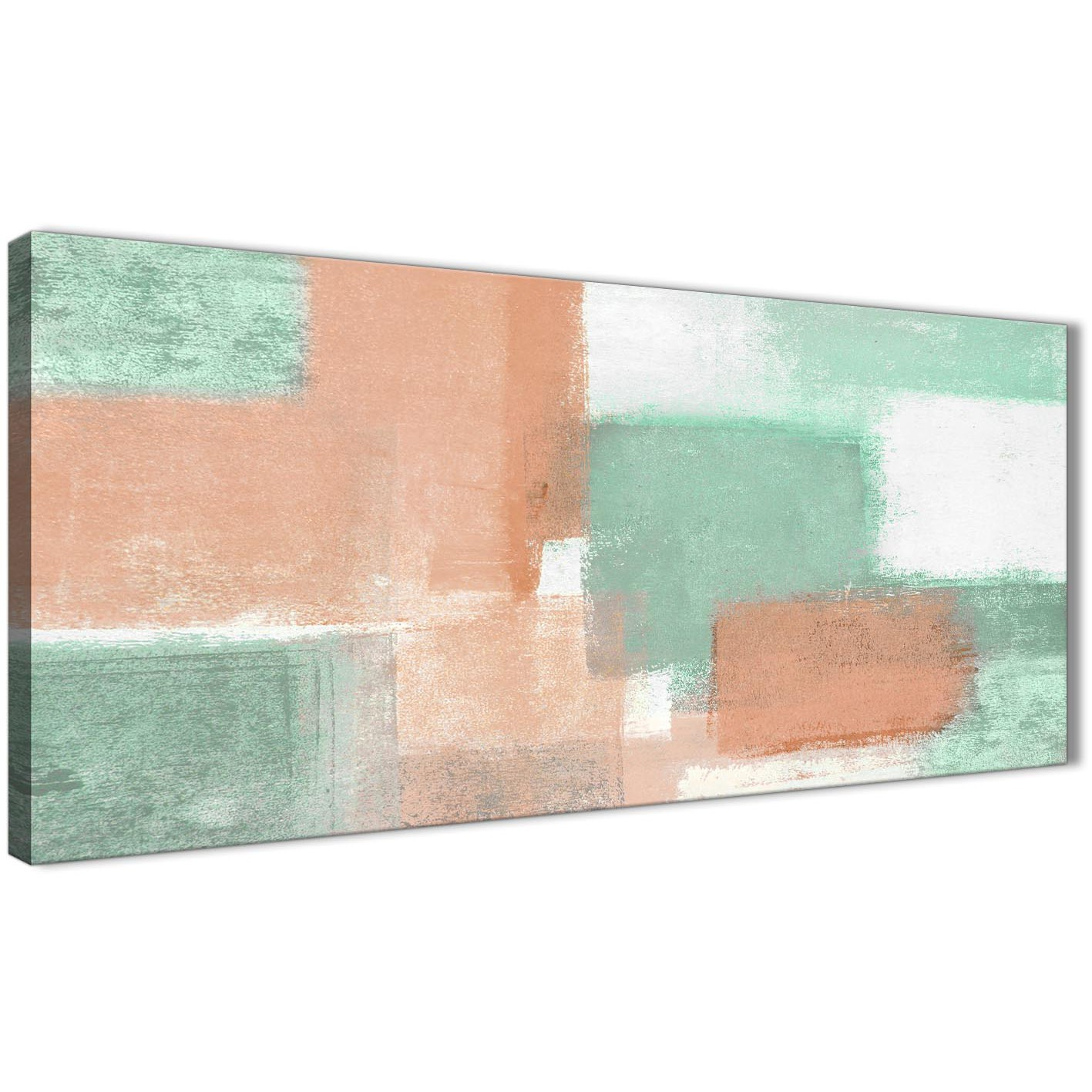 Panoramic Peach Mint Green Bedroom Canvas Wall Art Accessories   Abstract  1375   120cm Print Display Gallery Item 1 ...