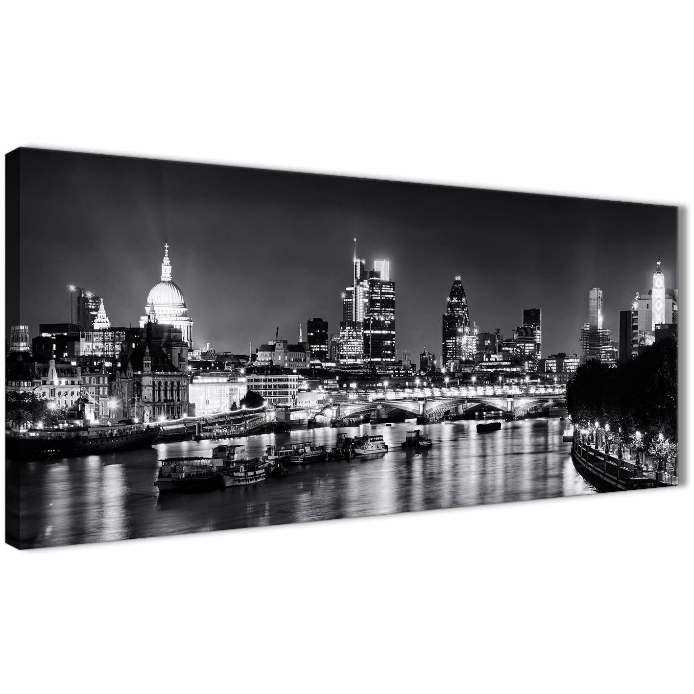 Panoramic River Thames Skyline Of London Canvas Wall Art   Landscape   1430  Black White Grey Display Gallery Item 1 ...