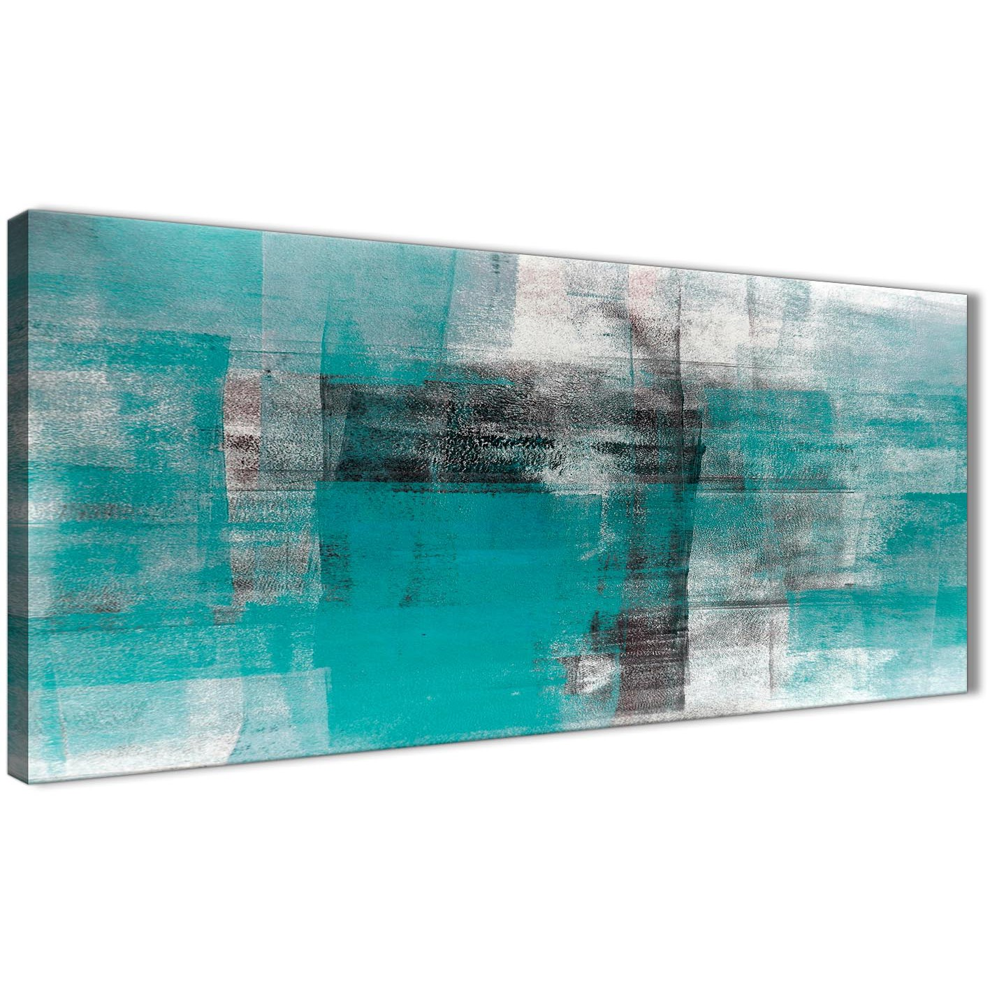 Items Similar To Teal Purple Abstract Flowers Wall Decor: Teal Black White Painting Living Room Canvas Wall Art