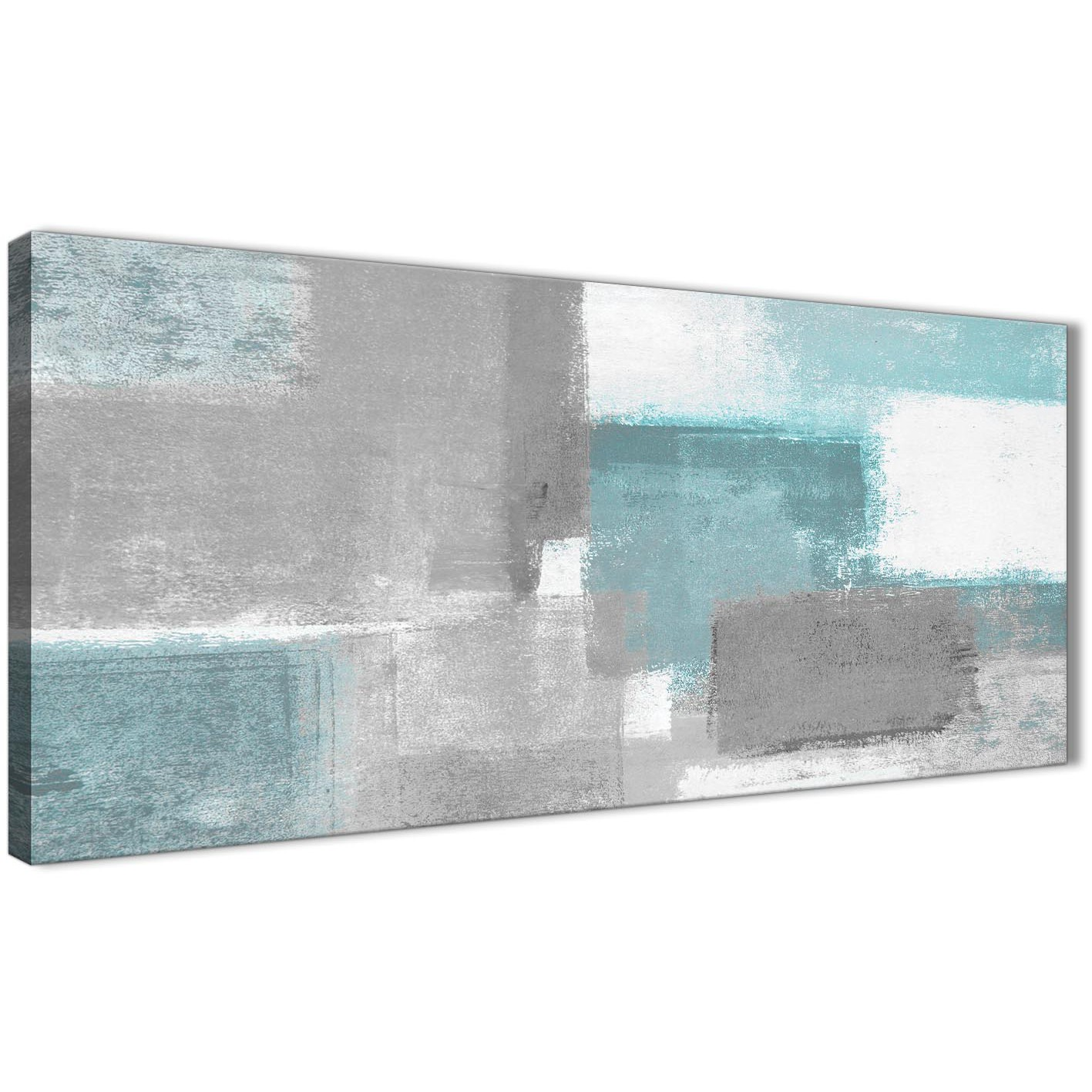 Teal Grey Painting Bedroom Canvas Wall Art Accessories - Abstract ...