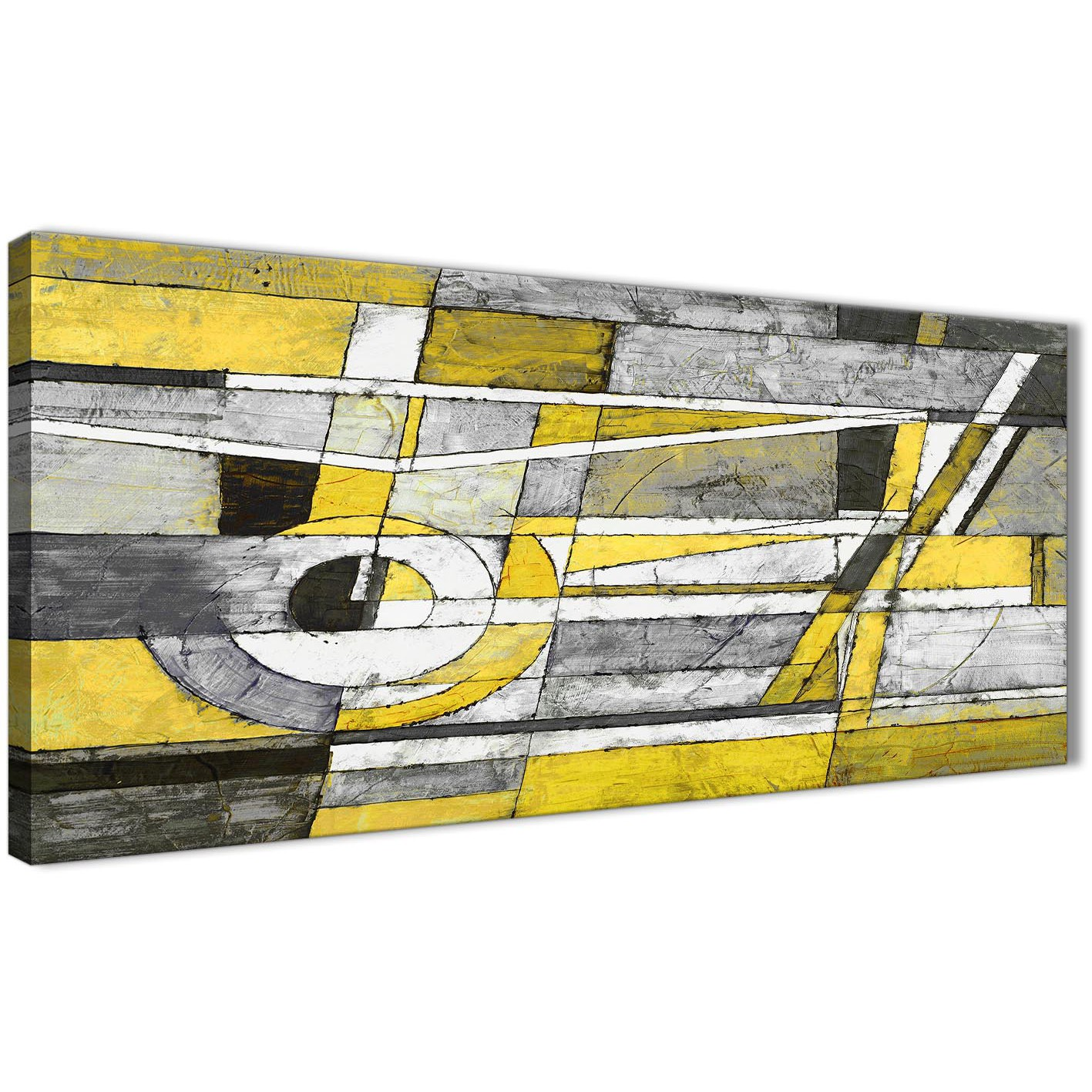 Yellow Grey Painting Living Room Canvas Wall Art Accessories ...