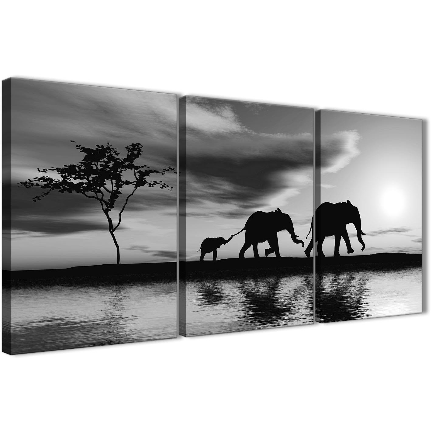 Oversized black white african sunset elephants canvas wall art print multi 3 set 125cm wide for