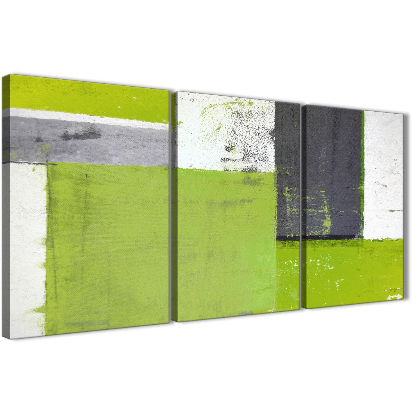 Wonderful Oversized Lime Green Grey Abstract Painting Canvas Wall Art Print Split 3  Set 125cm Wide 3339 Display Gallery Item 1 ...