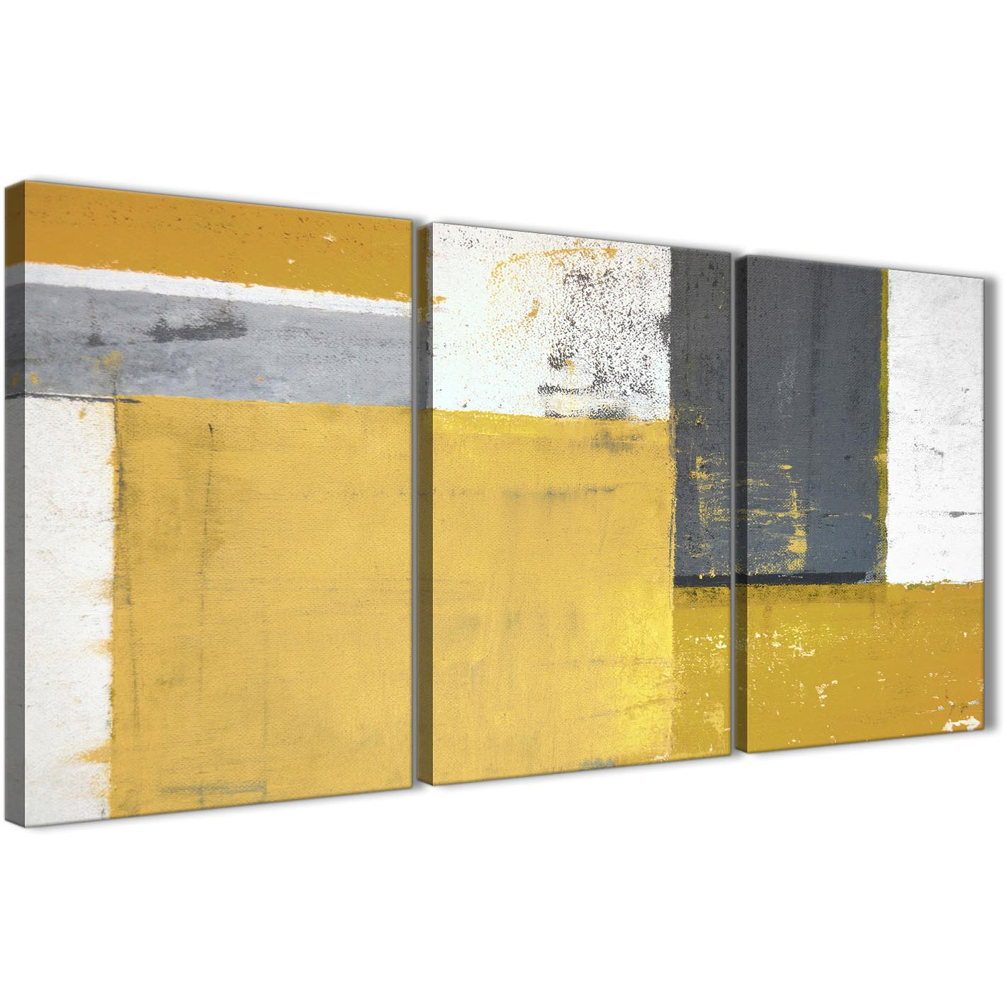 Mustard Yellow Grey Abstract Painting Canvas Wall Art Print - Split ...
