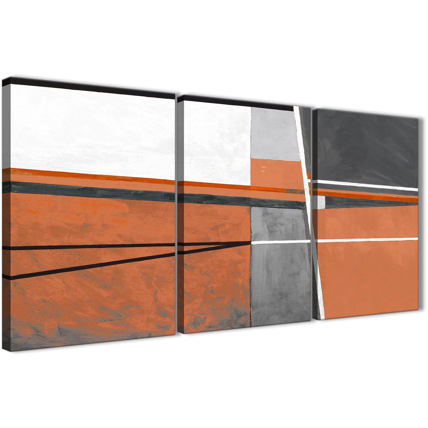 Orange Kitchen Set: 3 Piece Burnt Orange Grey Painting Hallway Canvas Pictures