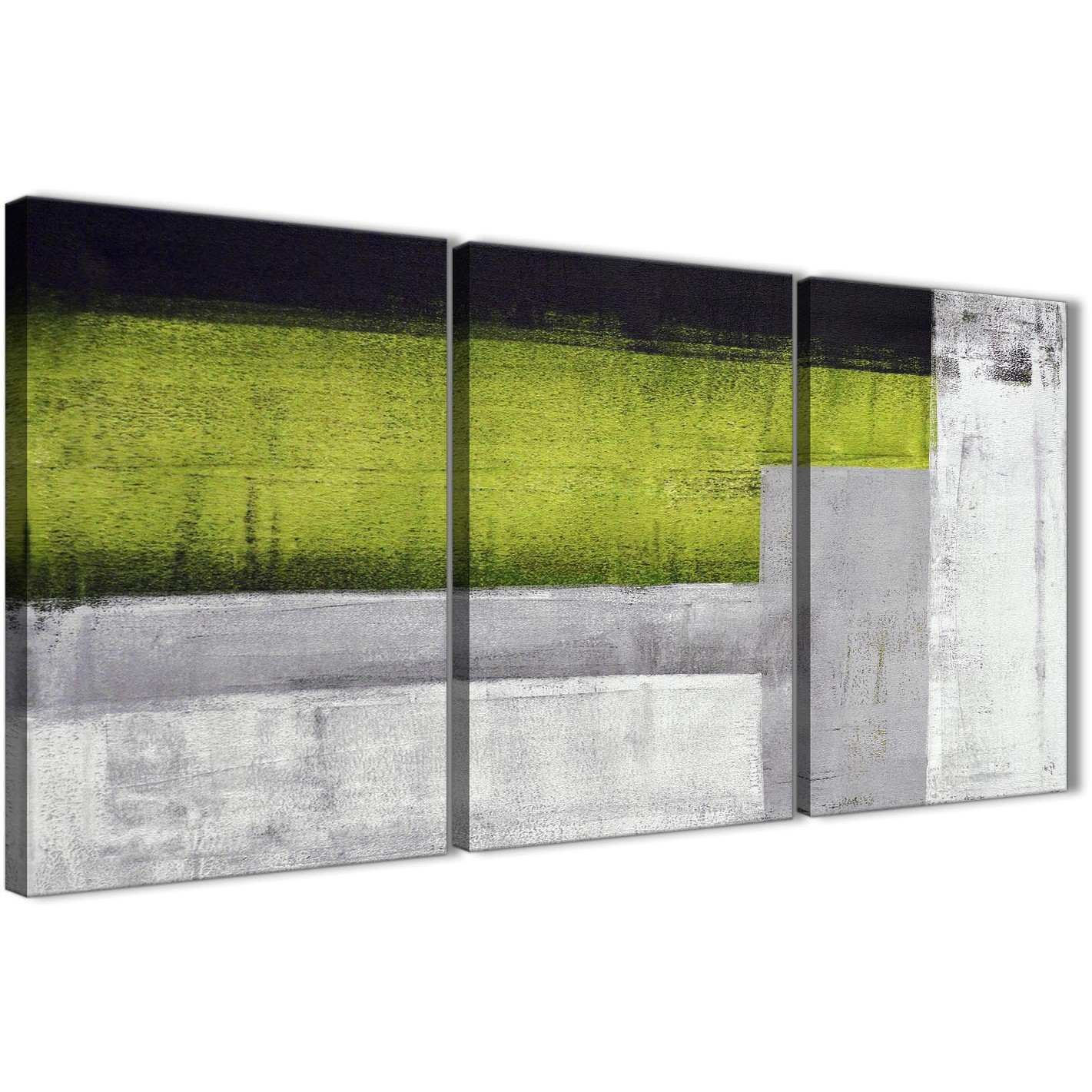 3 piece lime green grey painting living room canvas wall art