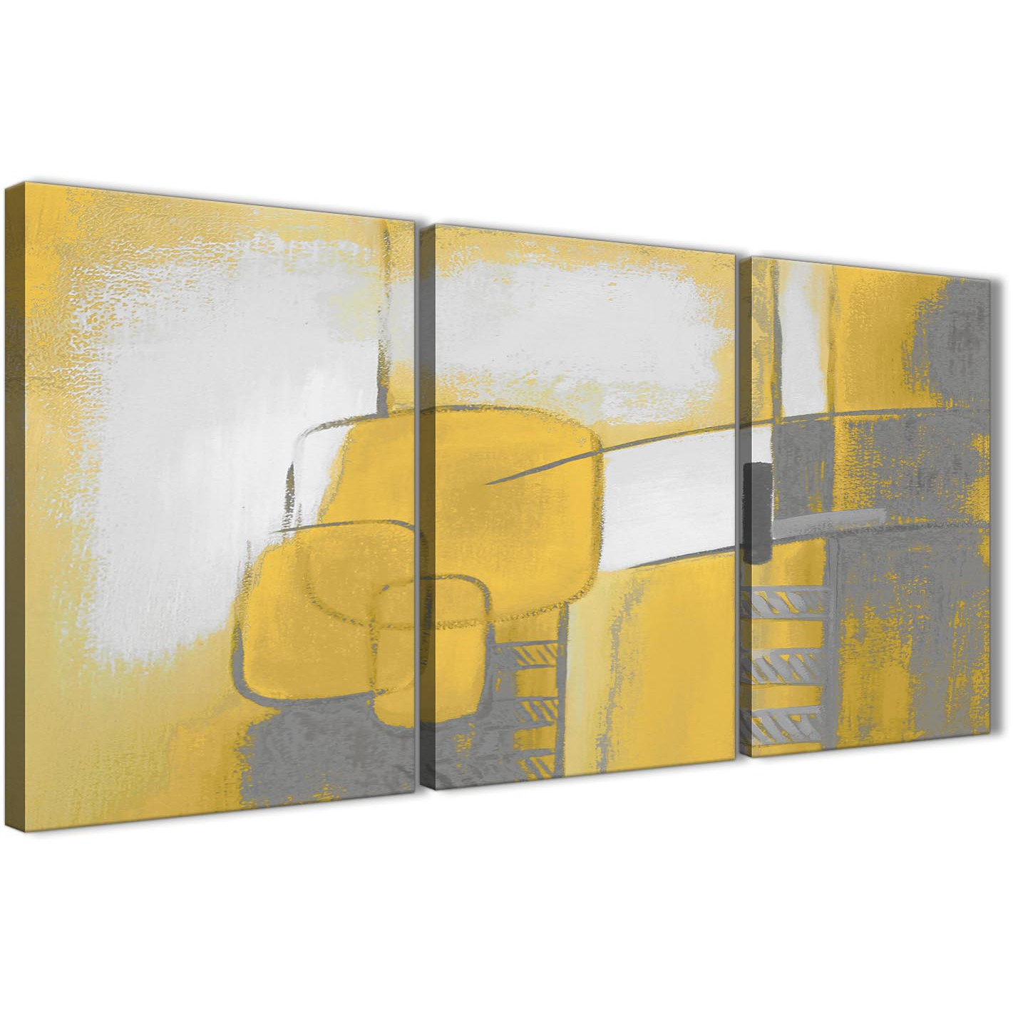 3 Piece Mustard Yellow Grey Painting Kitchen Canvas Pictures Decor ...