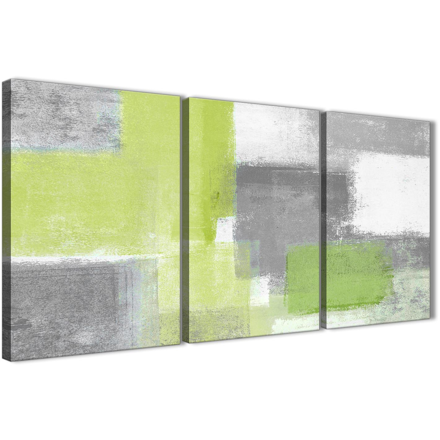 3 Piece Lime Green Grey Hallway Canvas Pictures Decor Abstract
