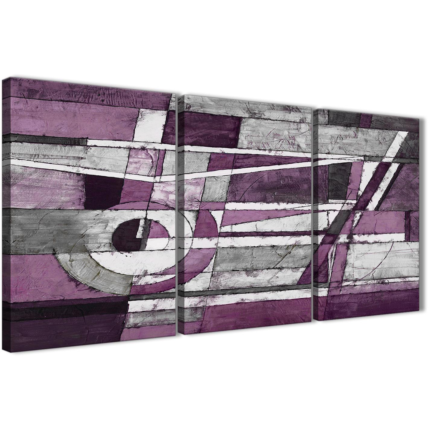 Bedroom Canvas Wall Art Uk: 3 Panel Aubergine Grey White Painting Dining Room Canvas
