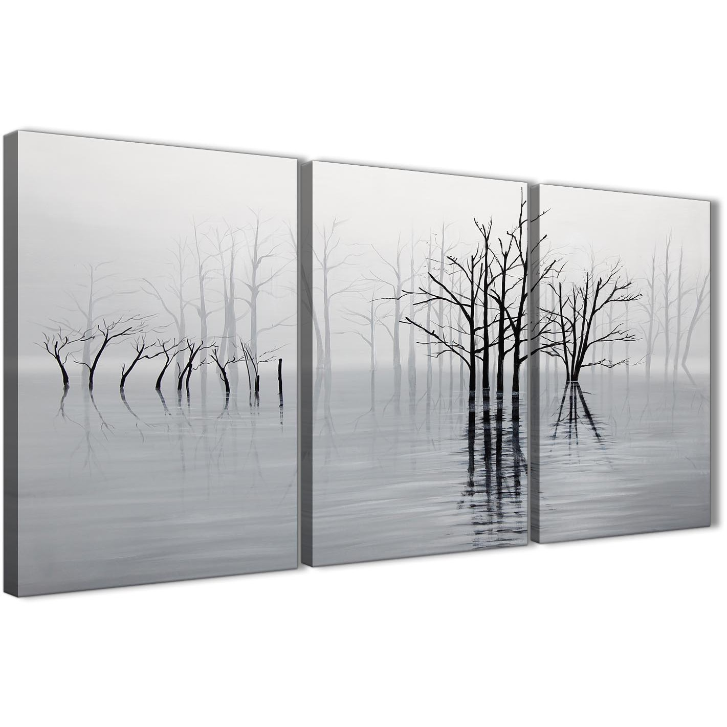 Black And White Paintings For Bedroom Bedroom Sets Black Modern Bedroom Black Bedroom Furniture Sets Pictures: 3 Part Black White Grey Tree Landscape Painting Living