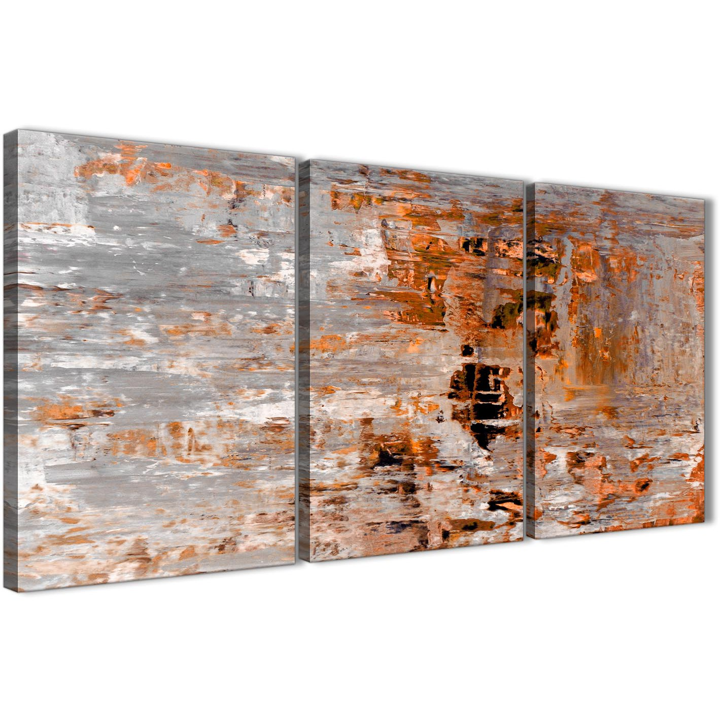 3 Panel Burnt Orange Grey Painting Dining Room Canvas Wall Art Decor