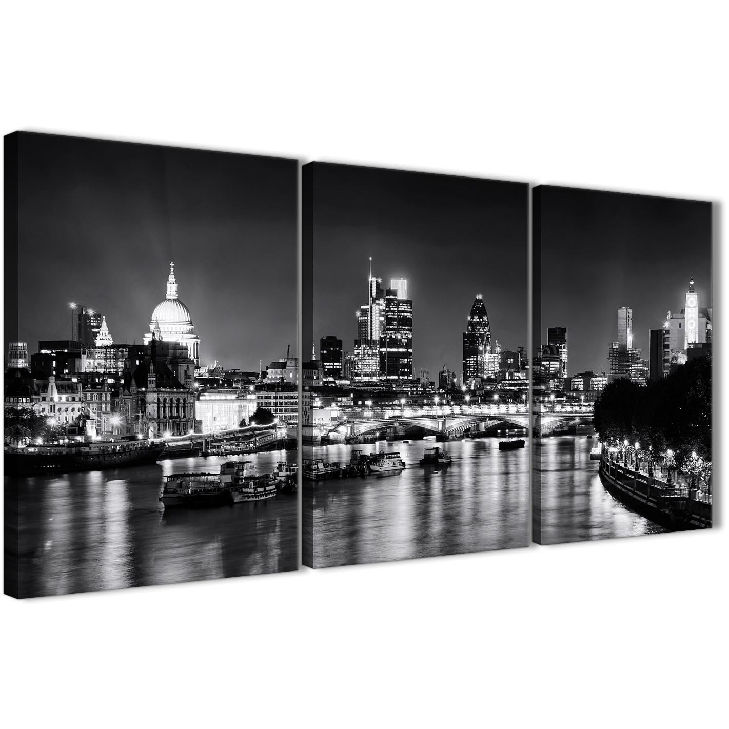 Next set of 3 piece landscape canvas wall art river thames skyline of london 3430 display gallery item 1