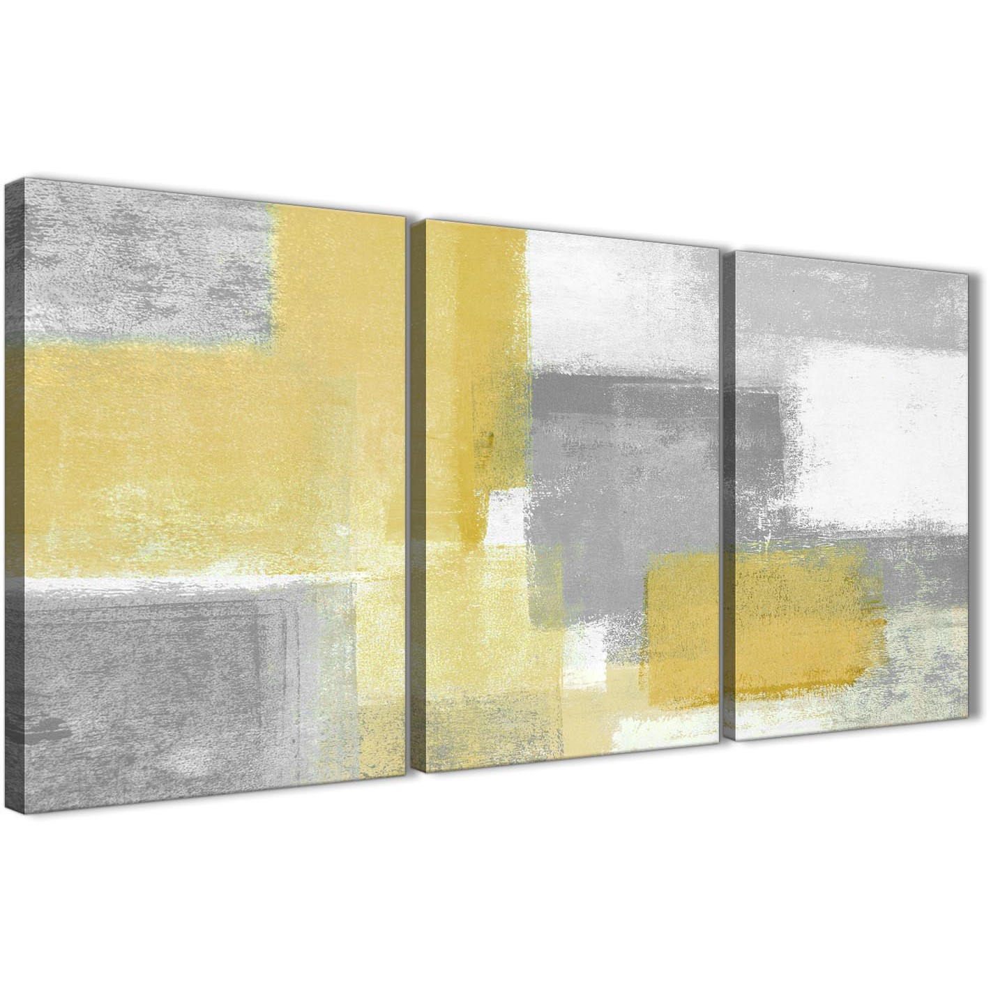 3 Panel Mustard Yellow Grey Kitchen Canvas Wall Art Decor - Abstract ...