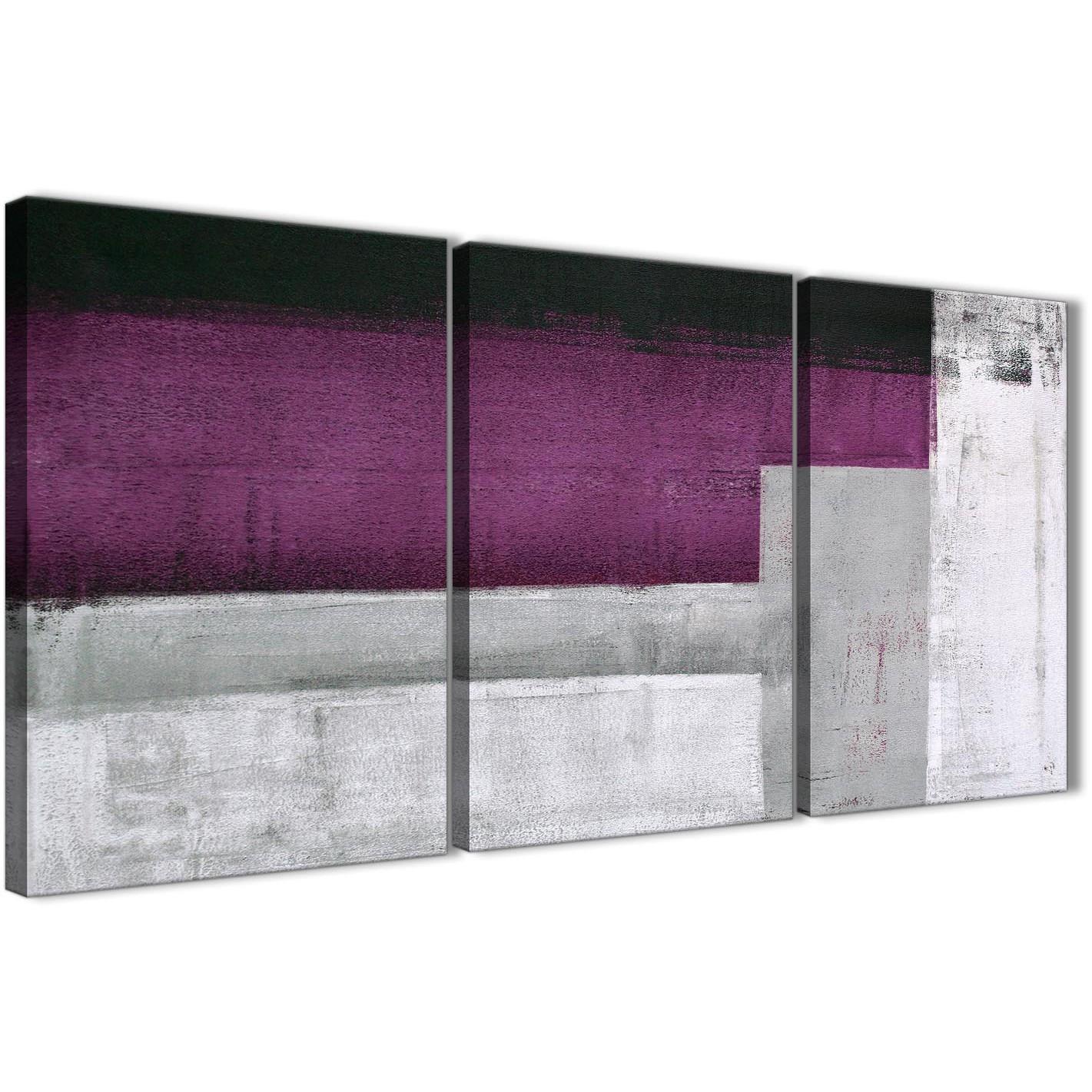 Plum Purple Grey Painting Kitchen Canvas Pictures: 3 Piece Purple Grey Painting Dining Room Canvas Pictures