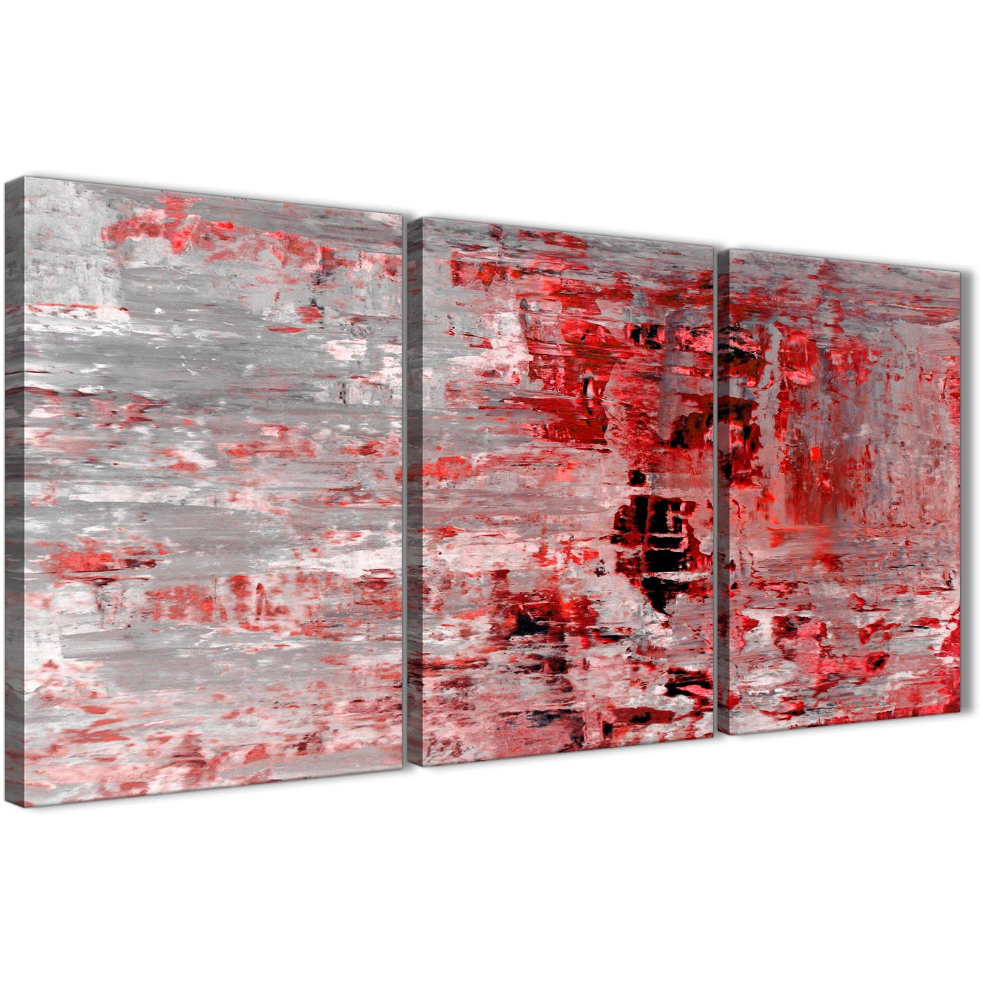 Next set of 3 panel red grey painting kitchen canvas wall art accessories abstract 3414 display gallery item 1