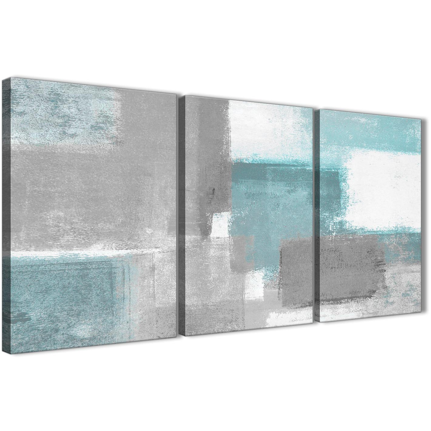 3 Panel Teal Grey Painting Living Room Canvas Wall Art Decor ...