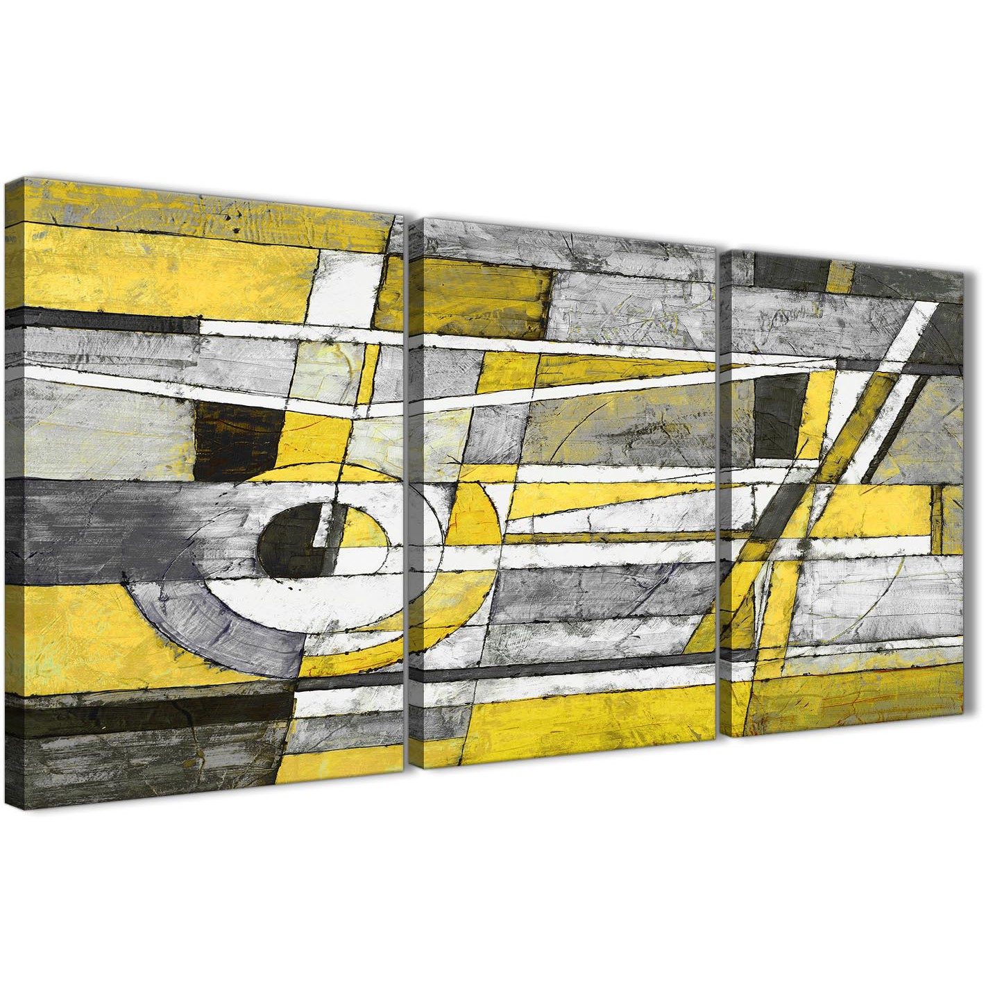 3 Panel Yellow Grey Painting Office Canvas Pictures Decor - Abstract ...