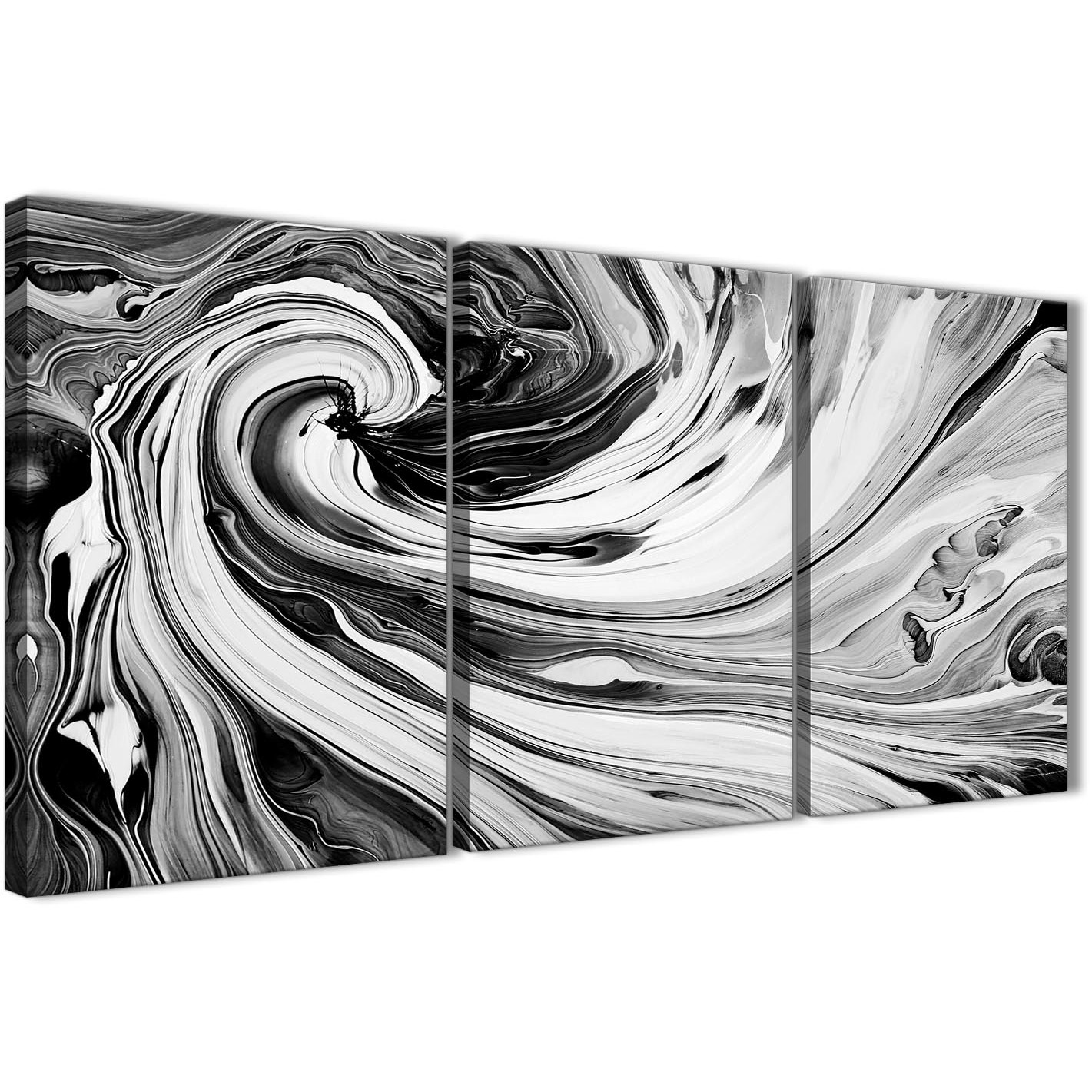 Oversized black white grey swirls modern abstract canvas wall art split 3 part 125cm wide 3354 display gallery item 1