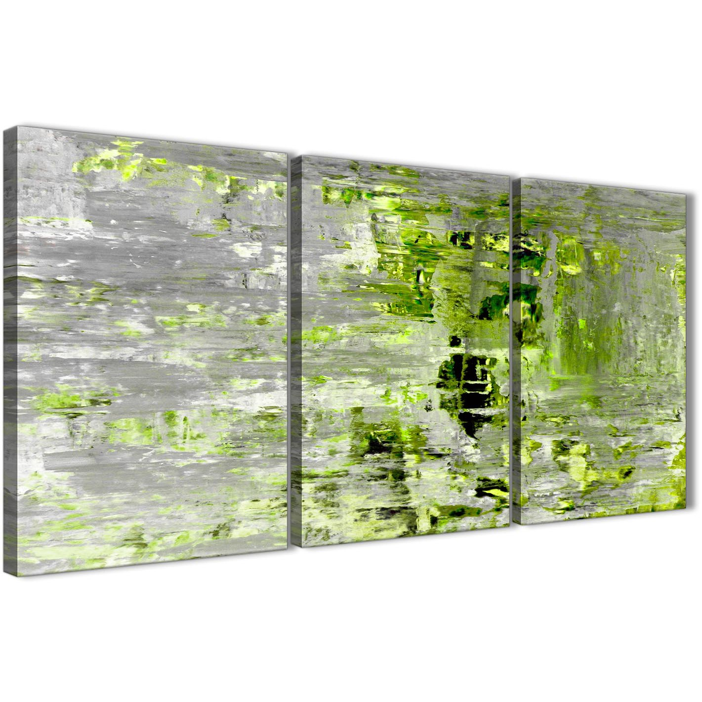 Oversized Lime Green Grey Abstract Painting Wall Art Print Canvas Split 3  Set 125cm Wide 3360 Display Gallery Item 1 ...