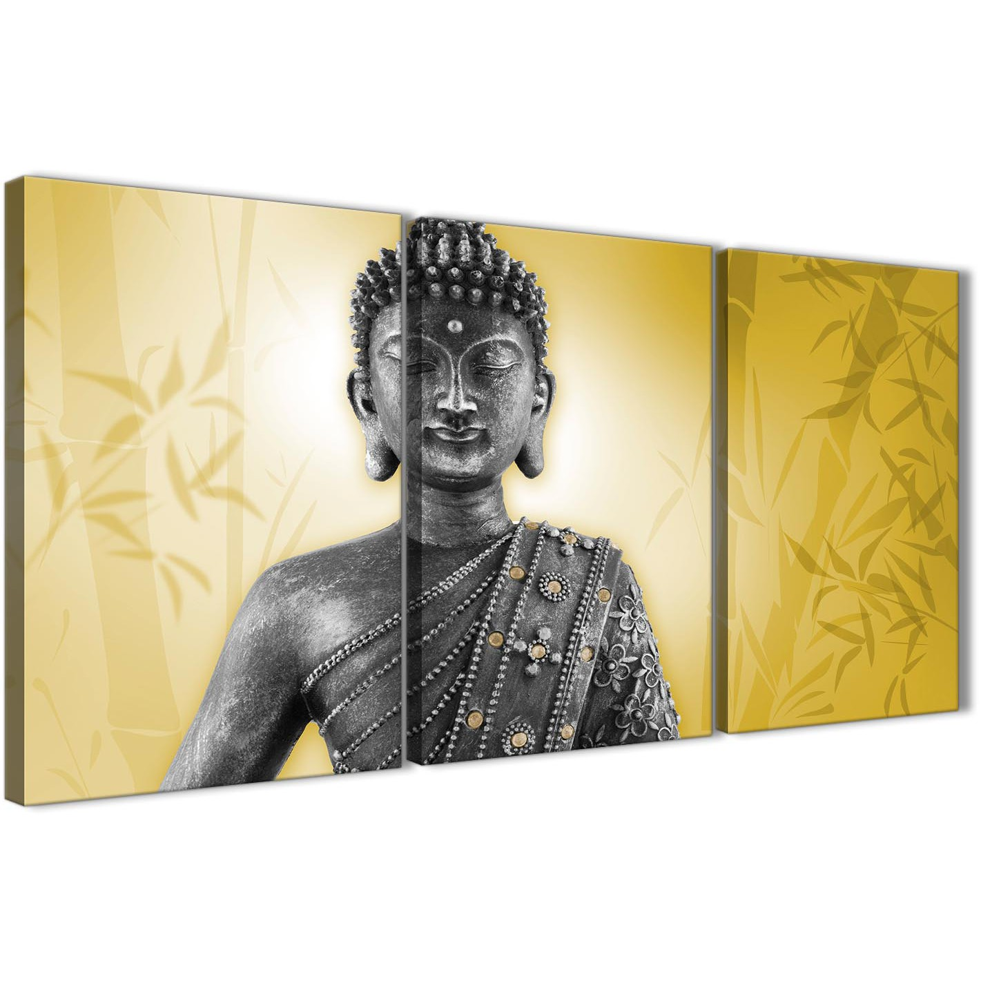 Mustard Yellow and Grey Silver Canvas Art Print of Buddha - Multi 3 ...