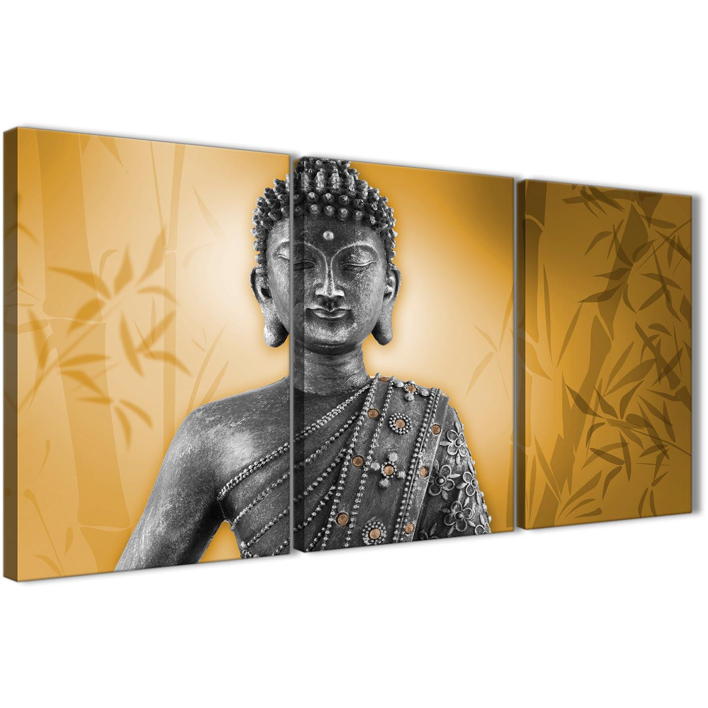 Orange and Grey Silver Canvas Art Prints of Buddha - Multi Set of 3 ...