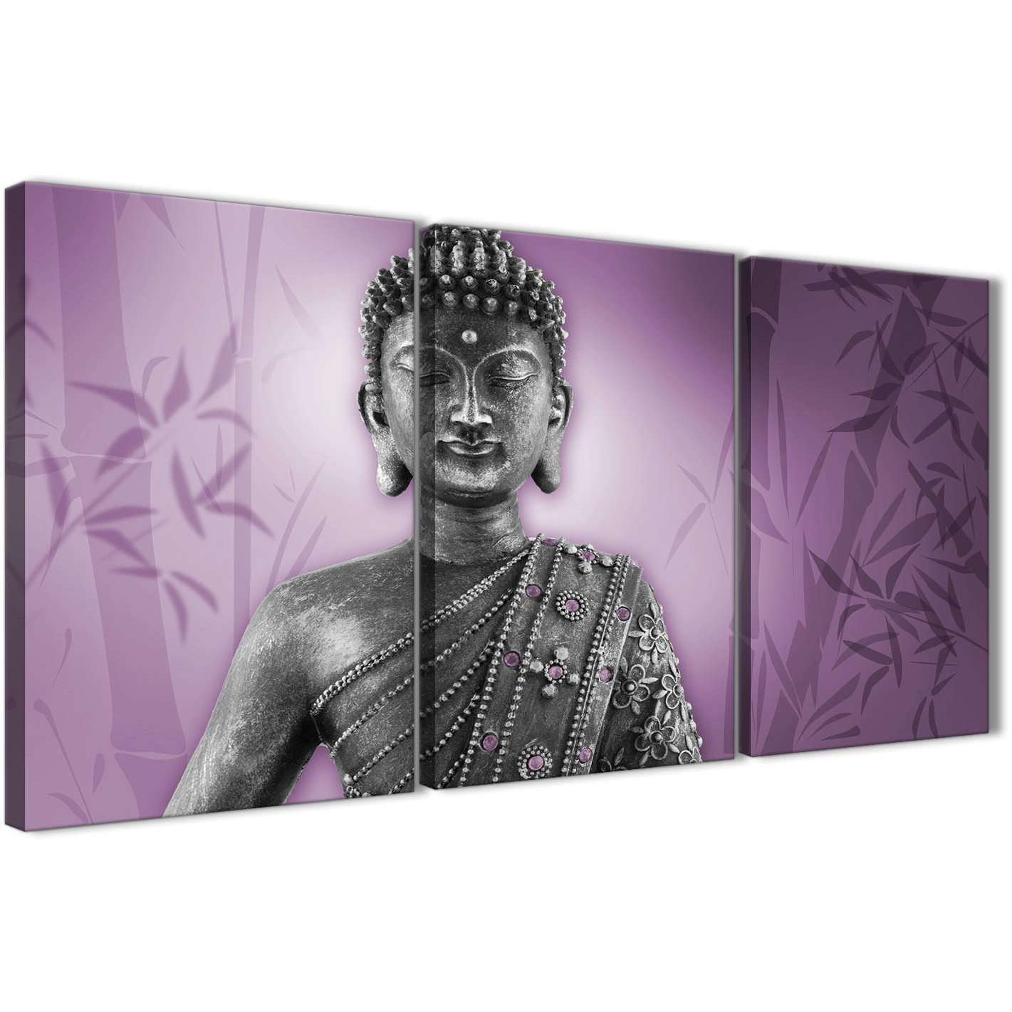 Superior Oversized Purple And Grey Silver Wall Art Prints Of Buddha Canvas Multi 3  Part 3330 For Display Gallery Item 1 ...