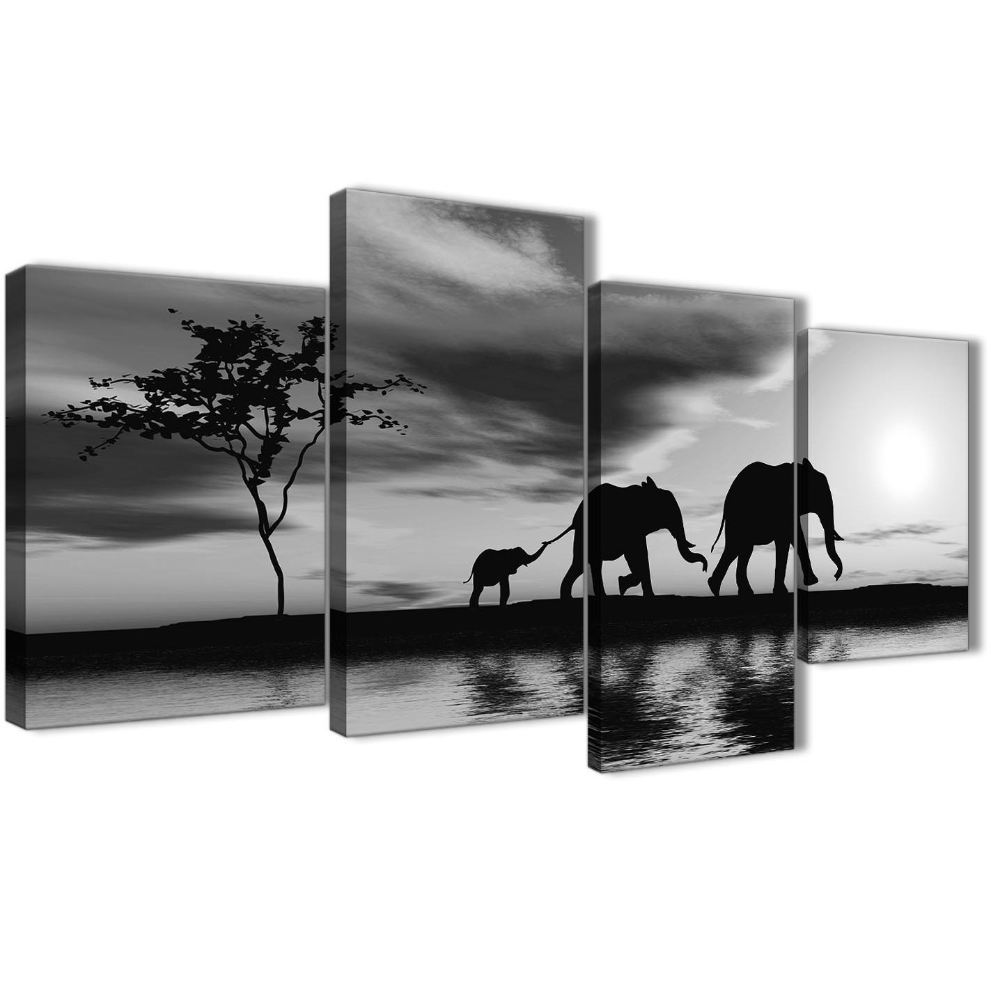 Large Black White African Sunset Elephants Canvas Wall Art
