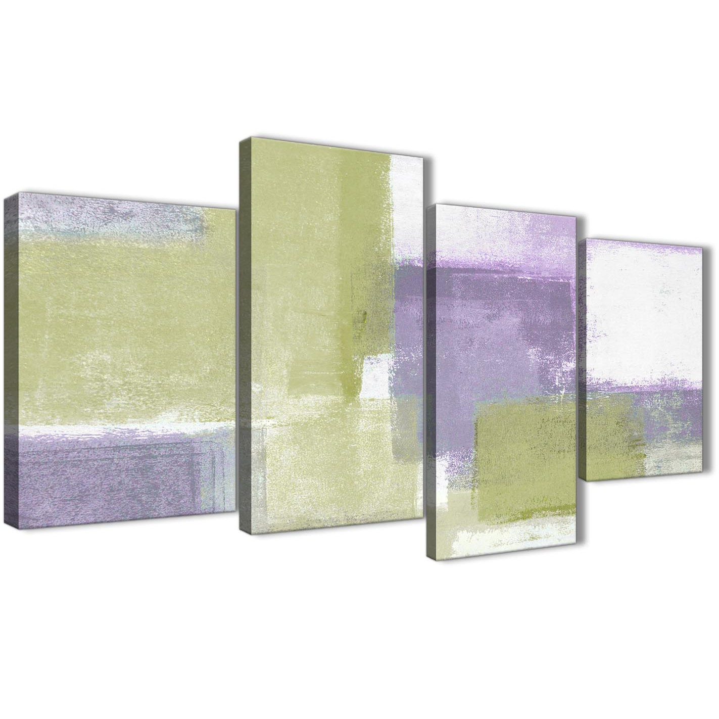 Large Lime Green Purple Abstract Painting Canvas Wall Art Print ...