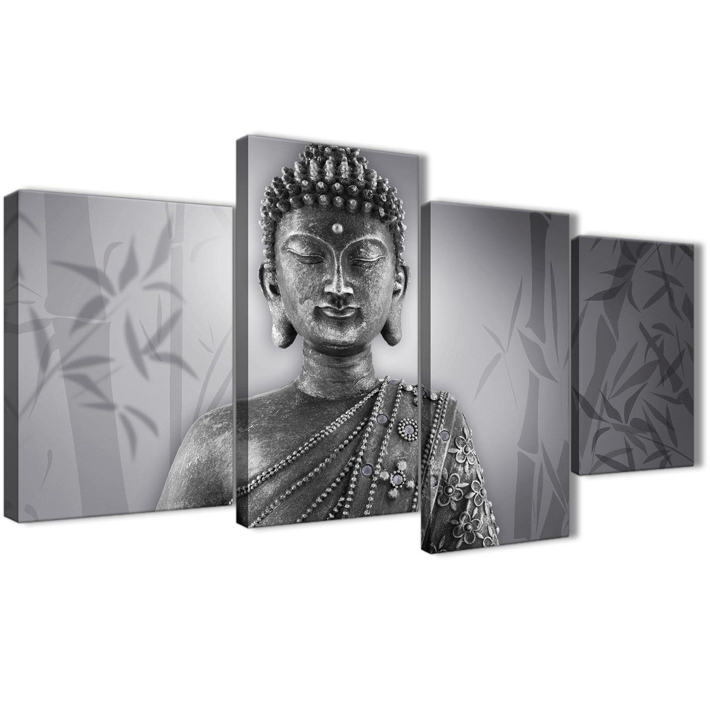 Extra large black white buddha living room canvas pictures decor 4373 130cm set of display gallery item 1