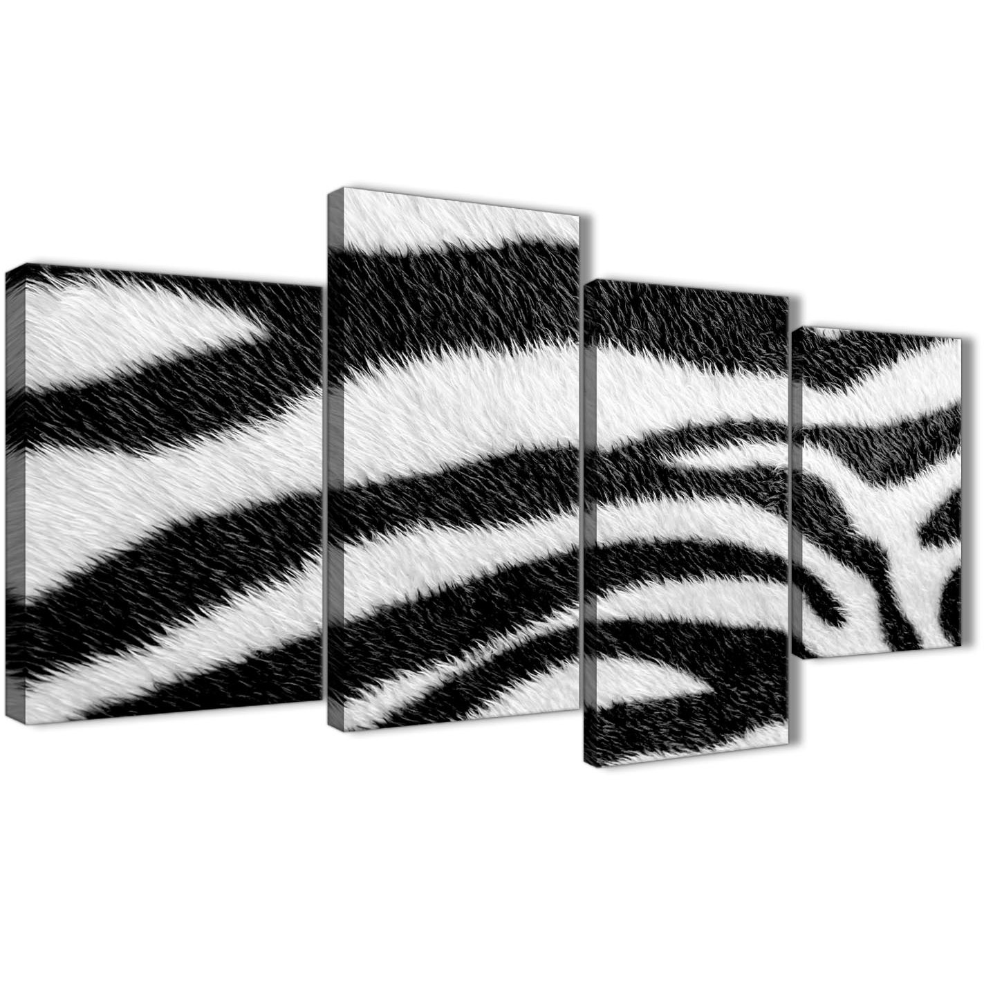 Large Black White Zebra Animal Print Abstract Bedroom Canvas Pictures Decor 4471 130cm Set Of Prints