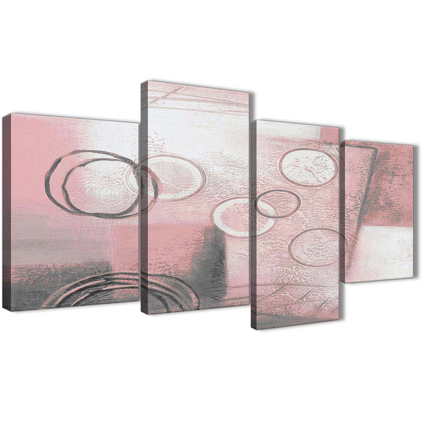 Large blush pink grey painting abstract living room canvas wall art decor 4433 130cm set of prints
